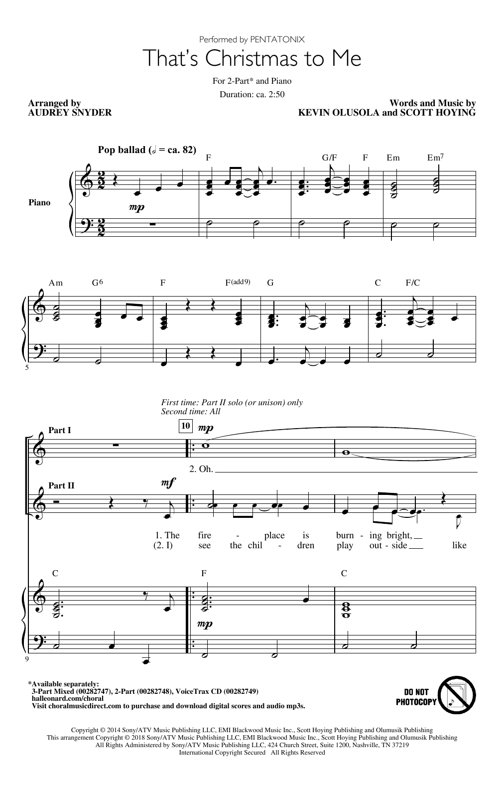 Thats Christmas To Me.That S Christmas To Me Arr Audrey Snyder By Pentatonix 3 Part Mixed Choir Digital Sheet Music