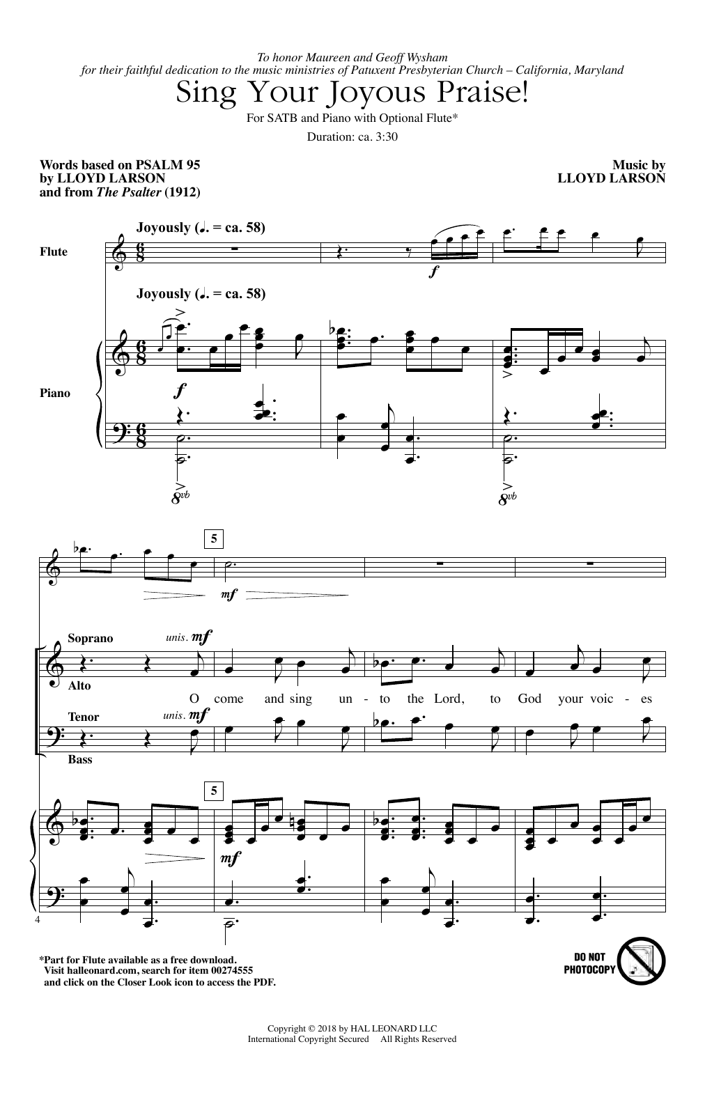 Sing Your Joyous Praise! (SATB Choir)