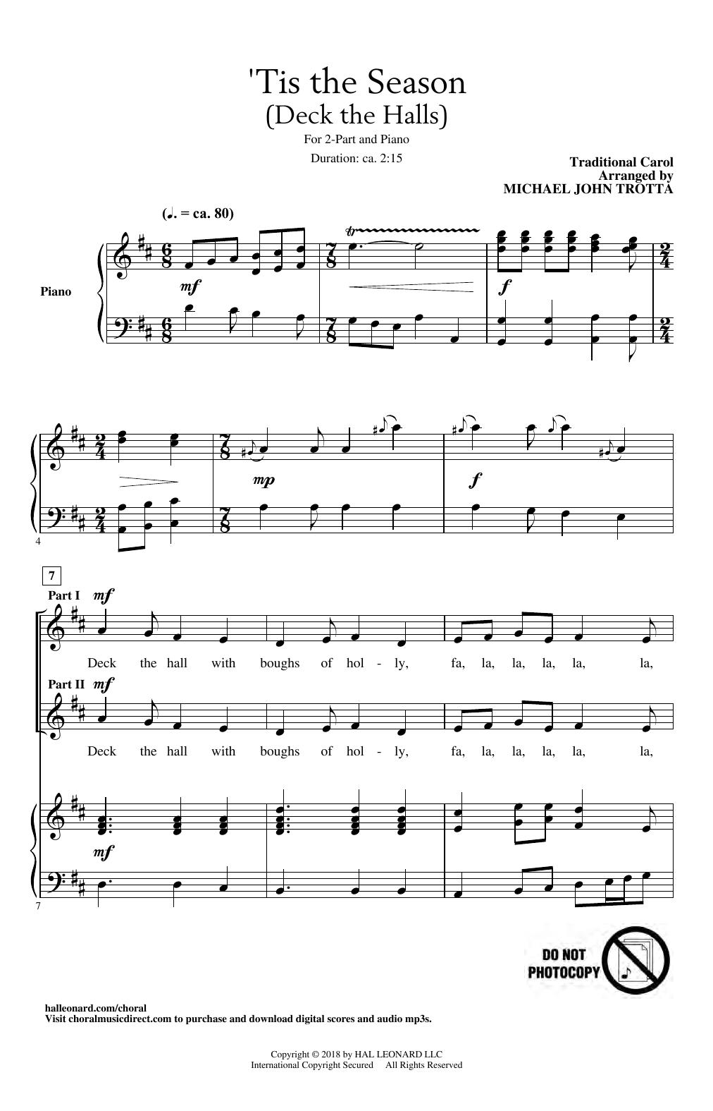'Tis The Season (Deck The Halls) (arr. Michael John Trotta) (2-Part Choir)