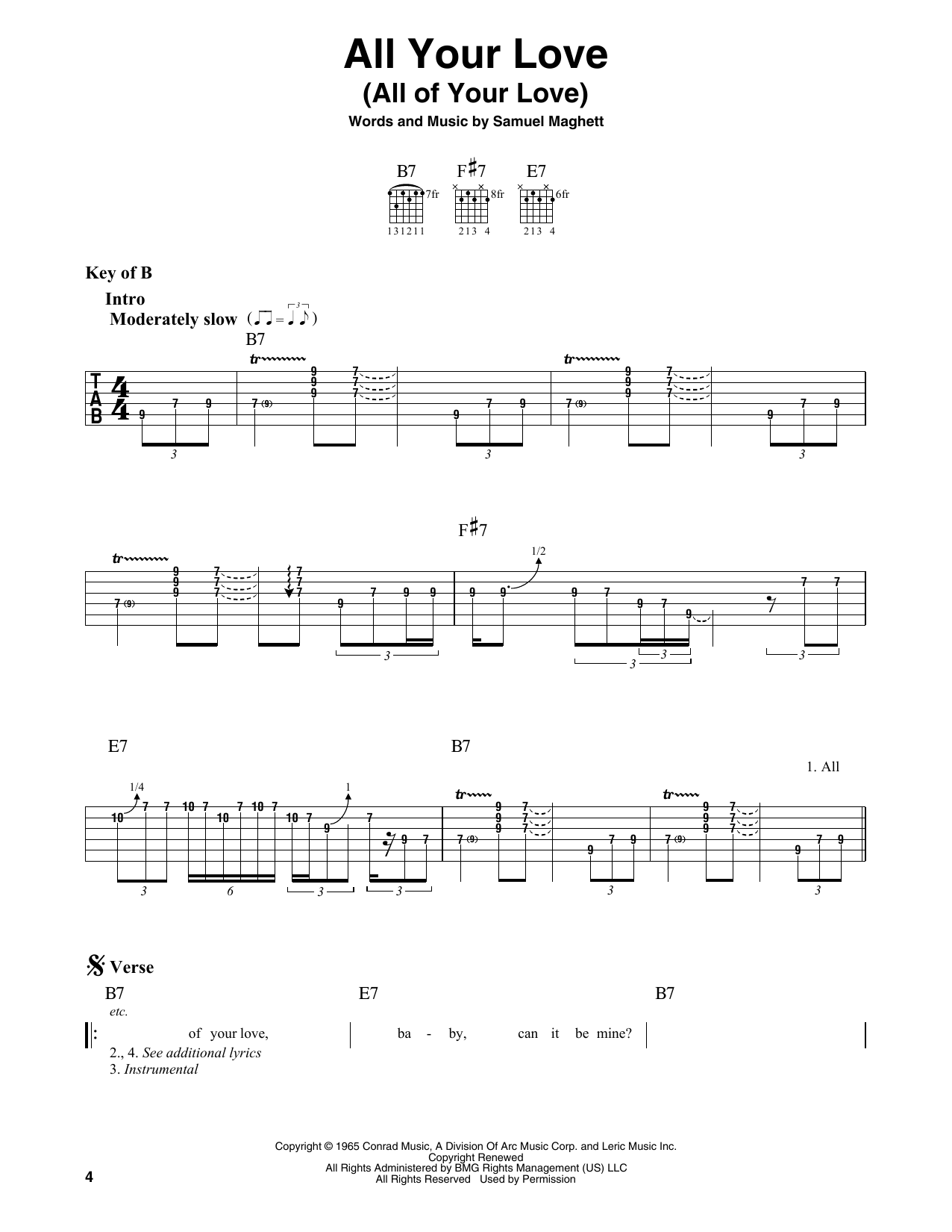All Your Love (All Of Your Love) (Guitar Lead Sheet)