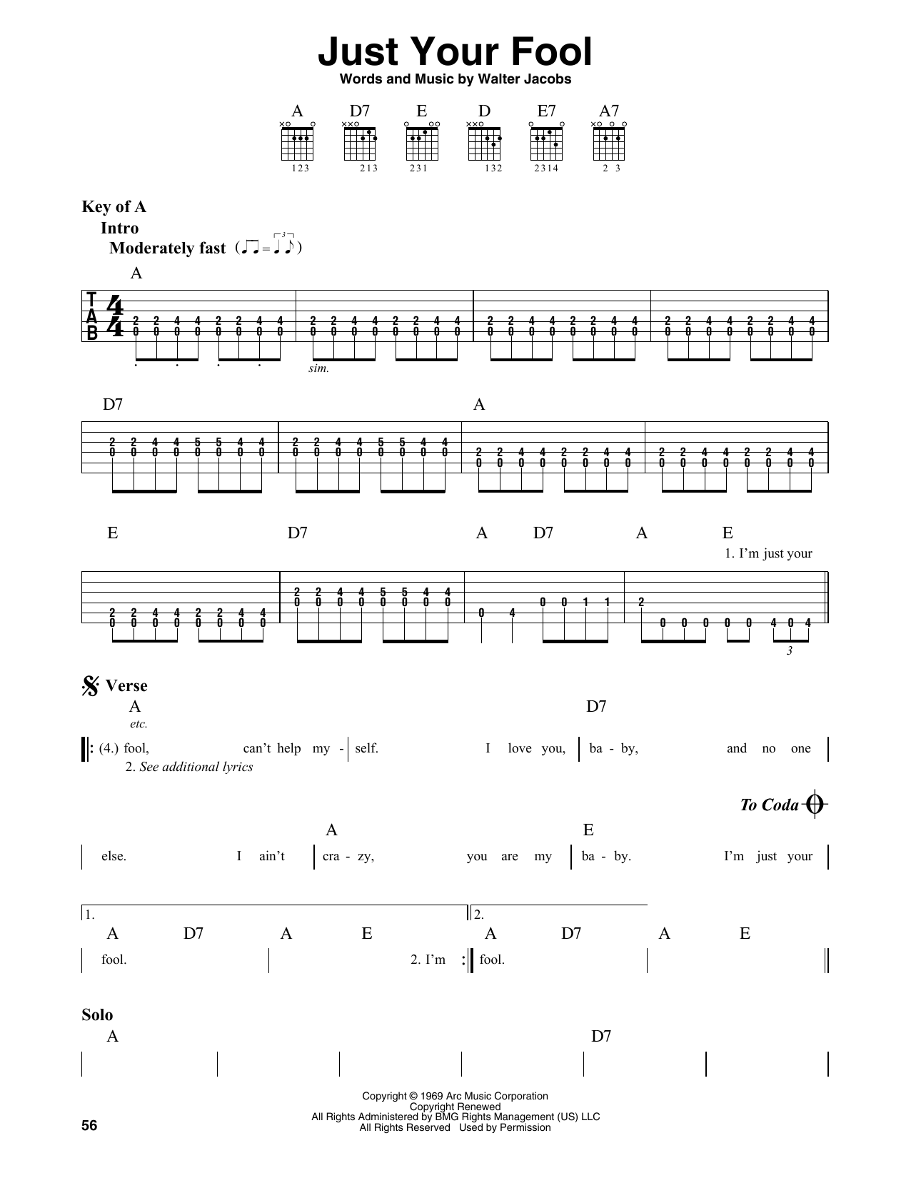 Just Your Fool (Guitar Lead Sheet)
