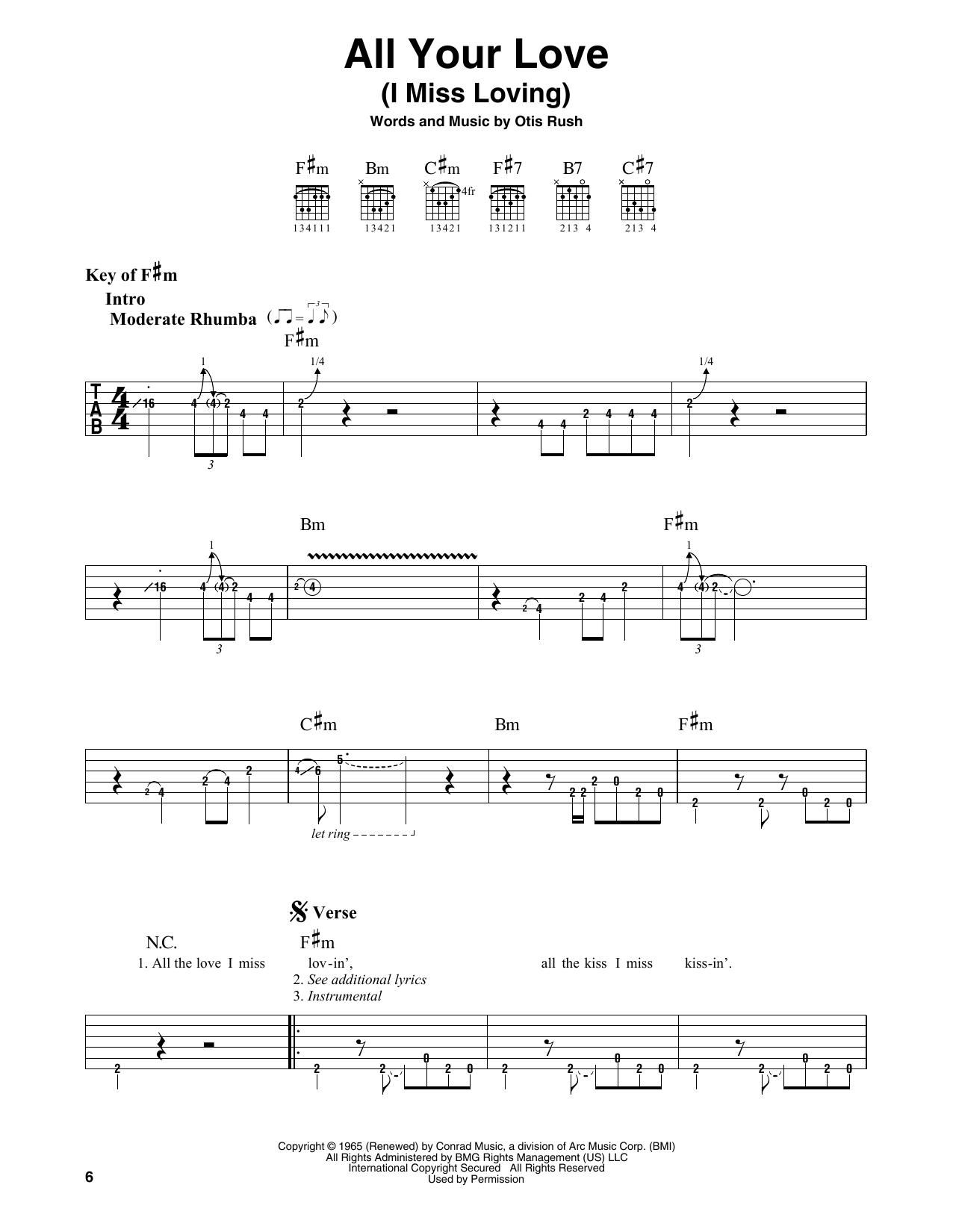 All Your Love (I Miss Loving) (Guitar Lead Sheet)