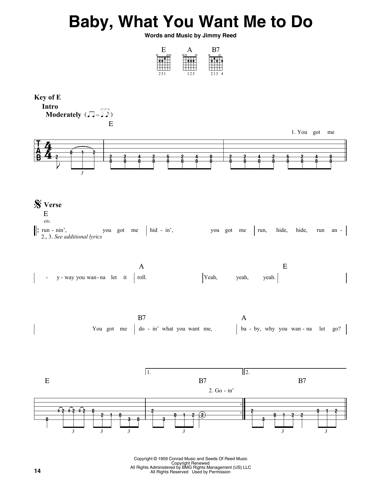 Baby, What You Want Me To Do (Guitar Lead Sheet)