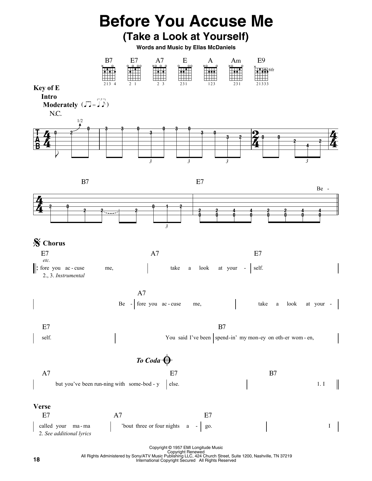 Before You Accuse Me (Take A Look At Yourself) (Guitar Lead Sheet)
