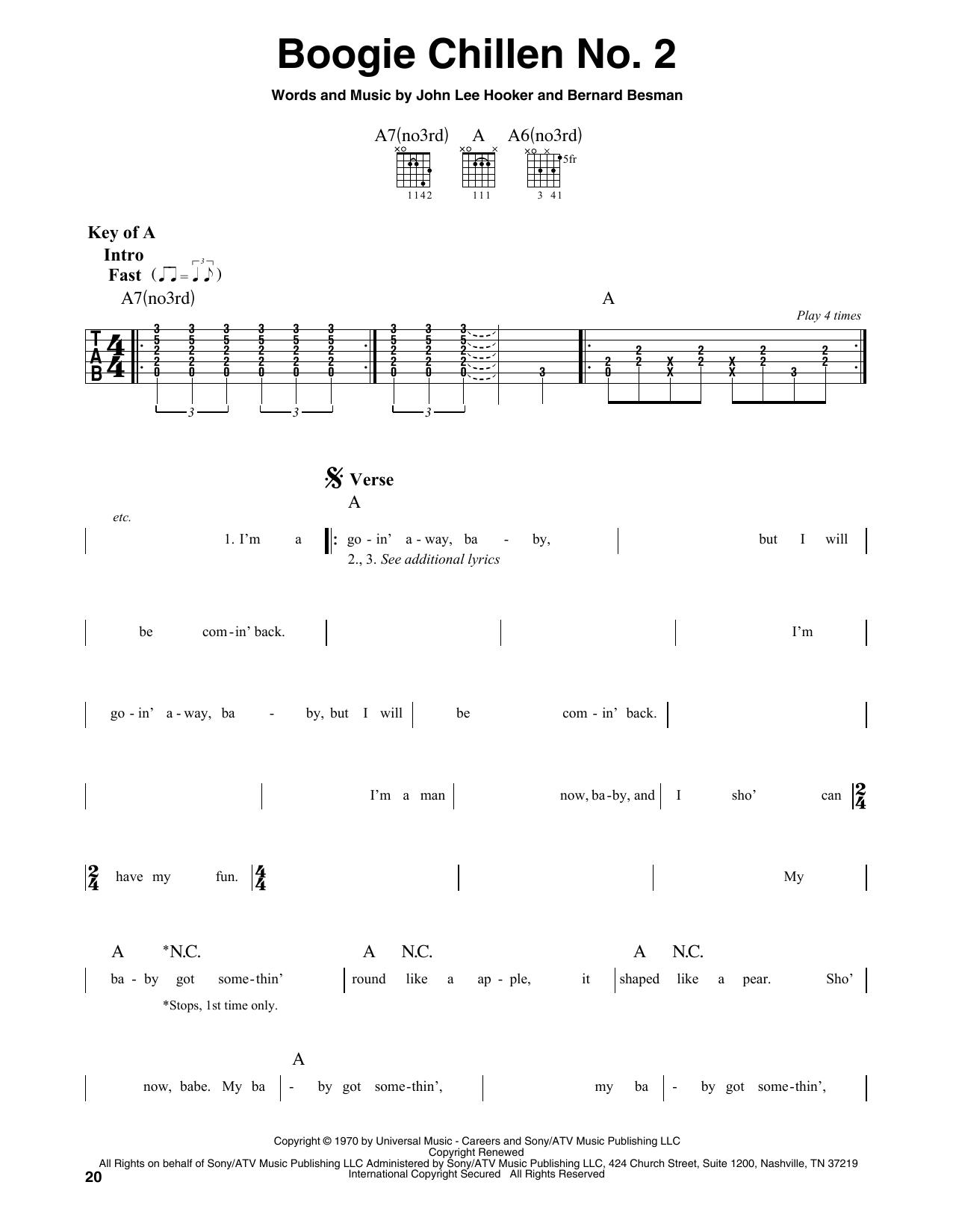 Boogie Chillen No. 2 (Guitar Lead Sheet)