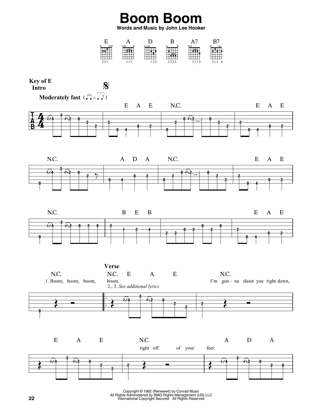 Boom Boom (Guitar Lead Sheet)