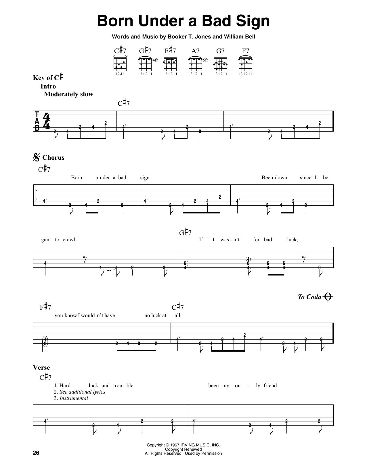 Born Under A Bad Sign (Guitar Lead Sheet)