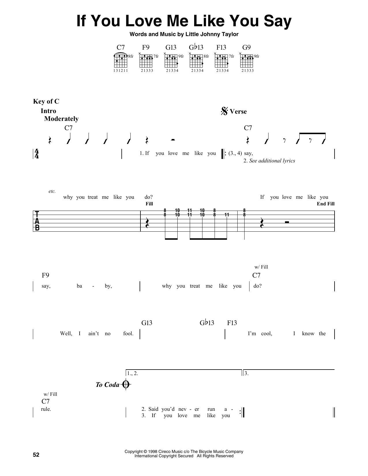If You Love Me Like You Say (Guitar Lead Sheet)