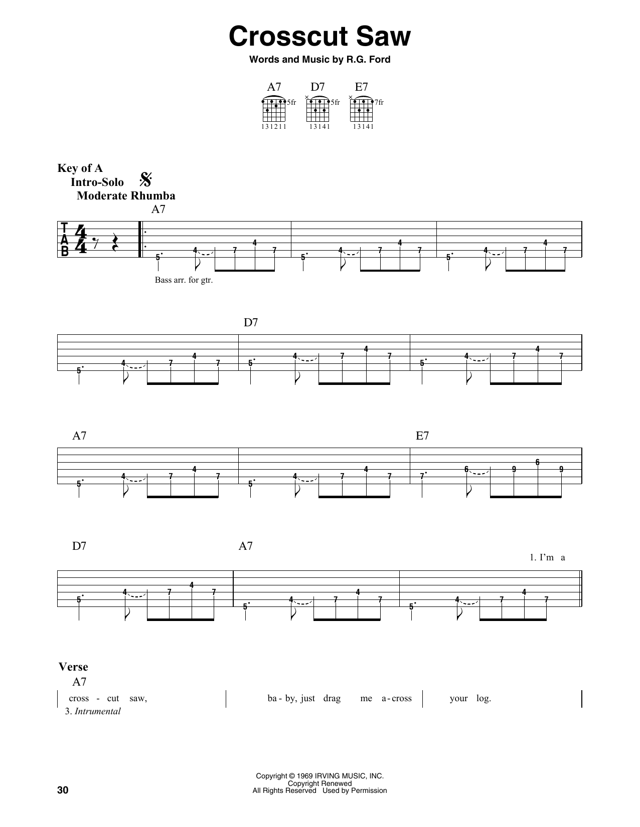 Crosscut Saw (Guitar Lead Sheet)