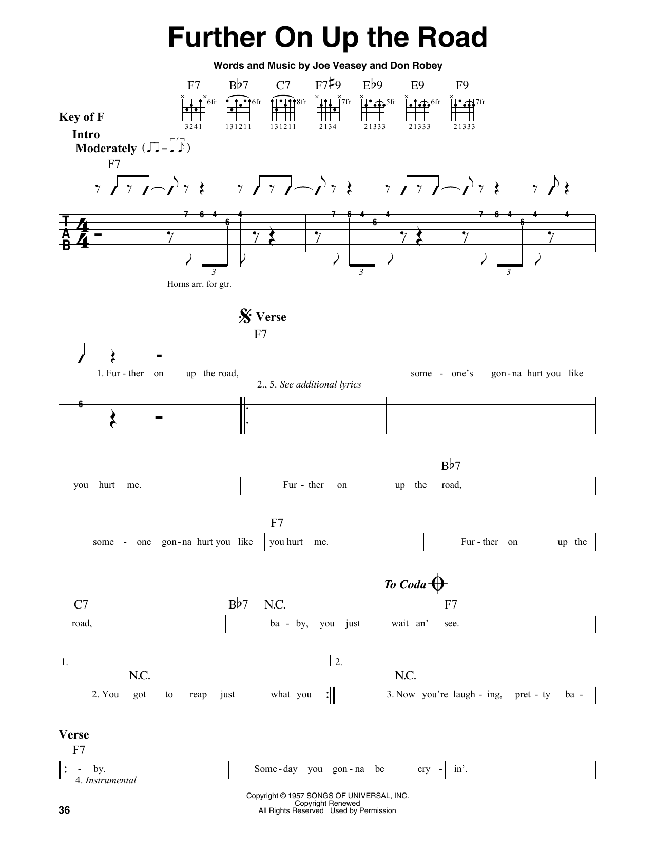 Further On Up The Road (Guitar Lead Sheet)
