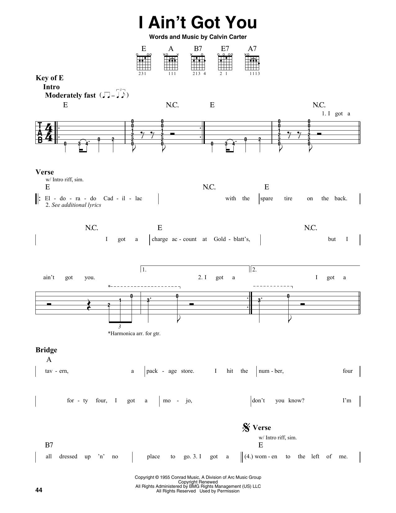I Ain't Got You (Guitar Lead Sheet)