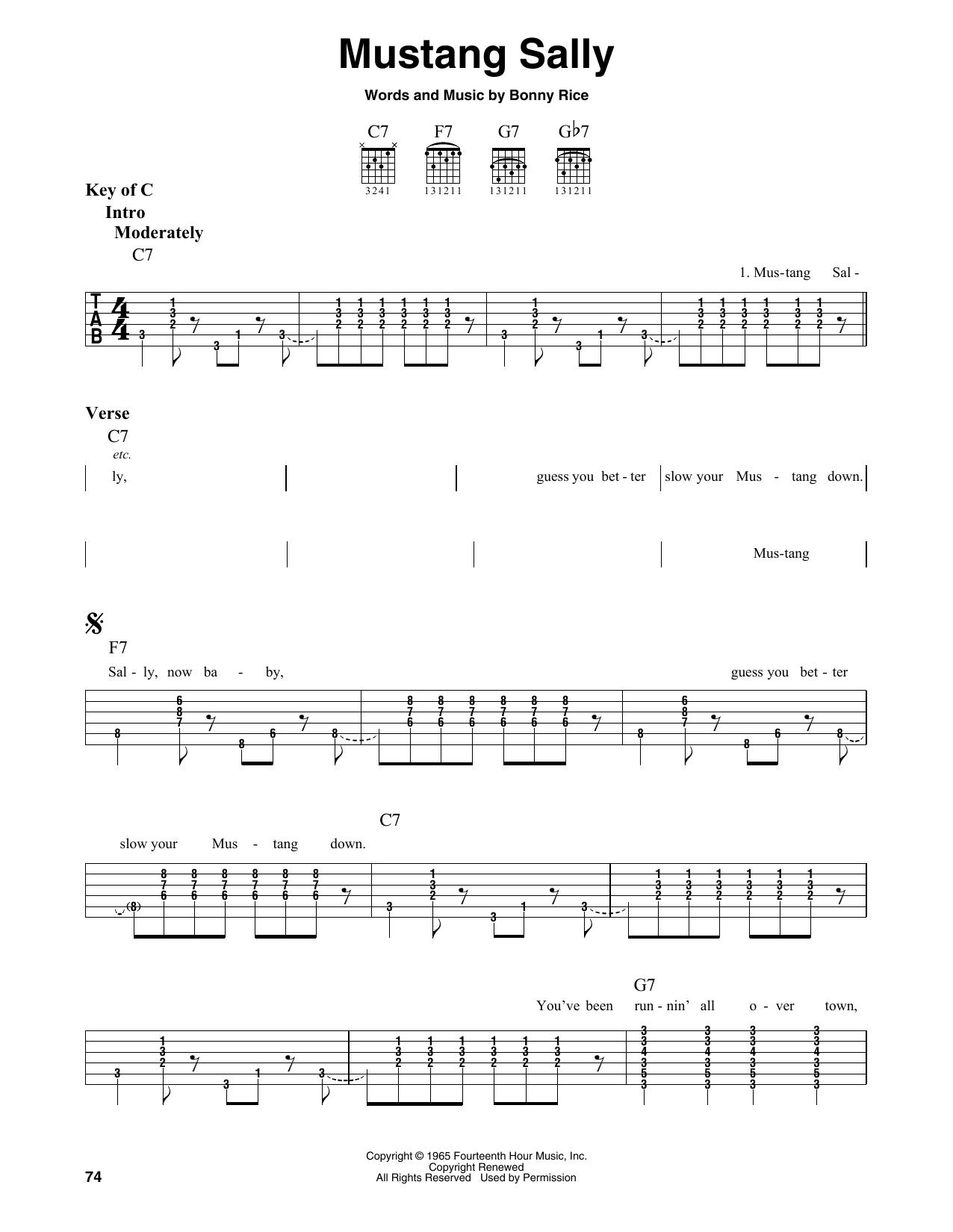 Mustang Sally (Guitar Lead Sheet)