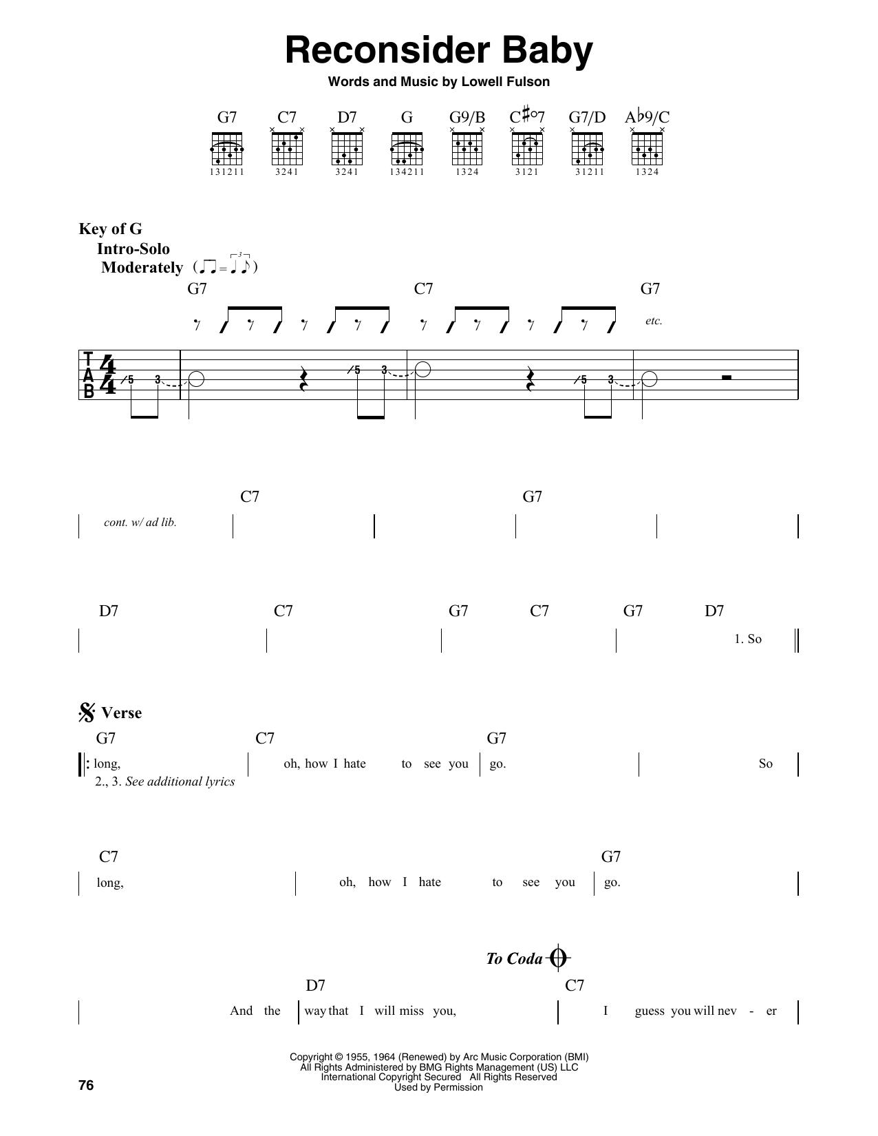 Reconsider Baby (Guitar Lead Sheet)