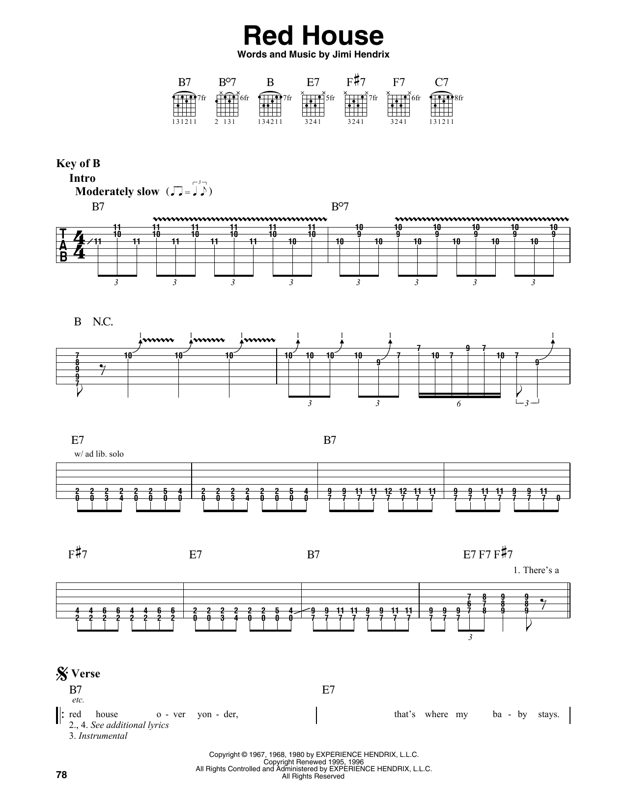 Red House (Guitar Lead Sheet)