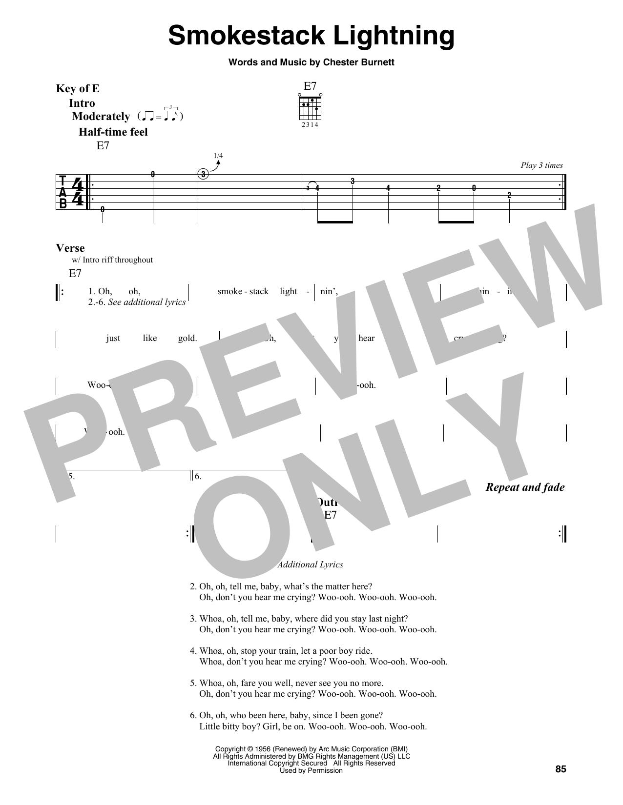 Smokestack Lightning by Howlin' Wolf Piano, Vocal & Guitar (Right-Hand  Melody) Digital Sheet Music