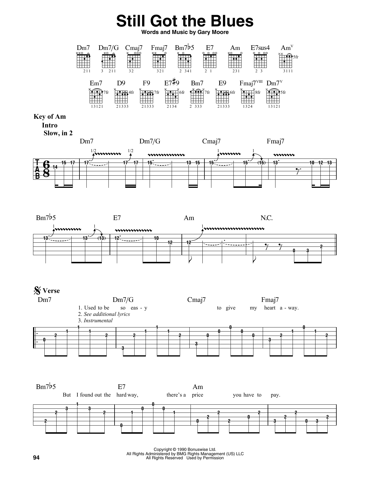 Still Got The Blues (Guitar Lead Sheet)