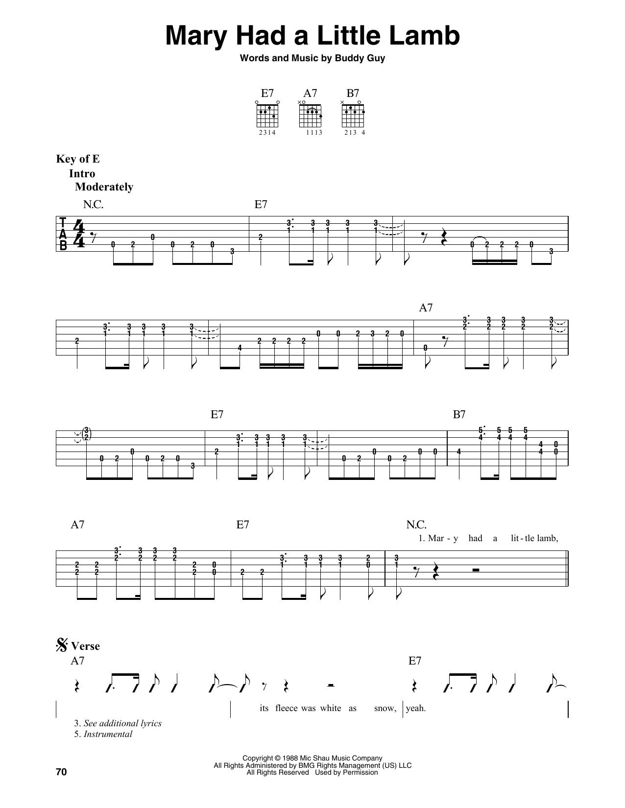 Mary Had A Little Lamb (Guitar Lead Sheet)
