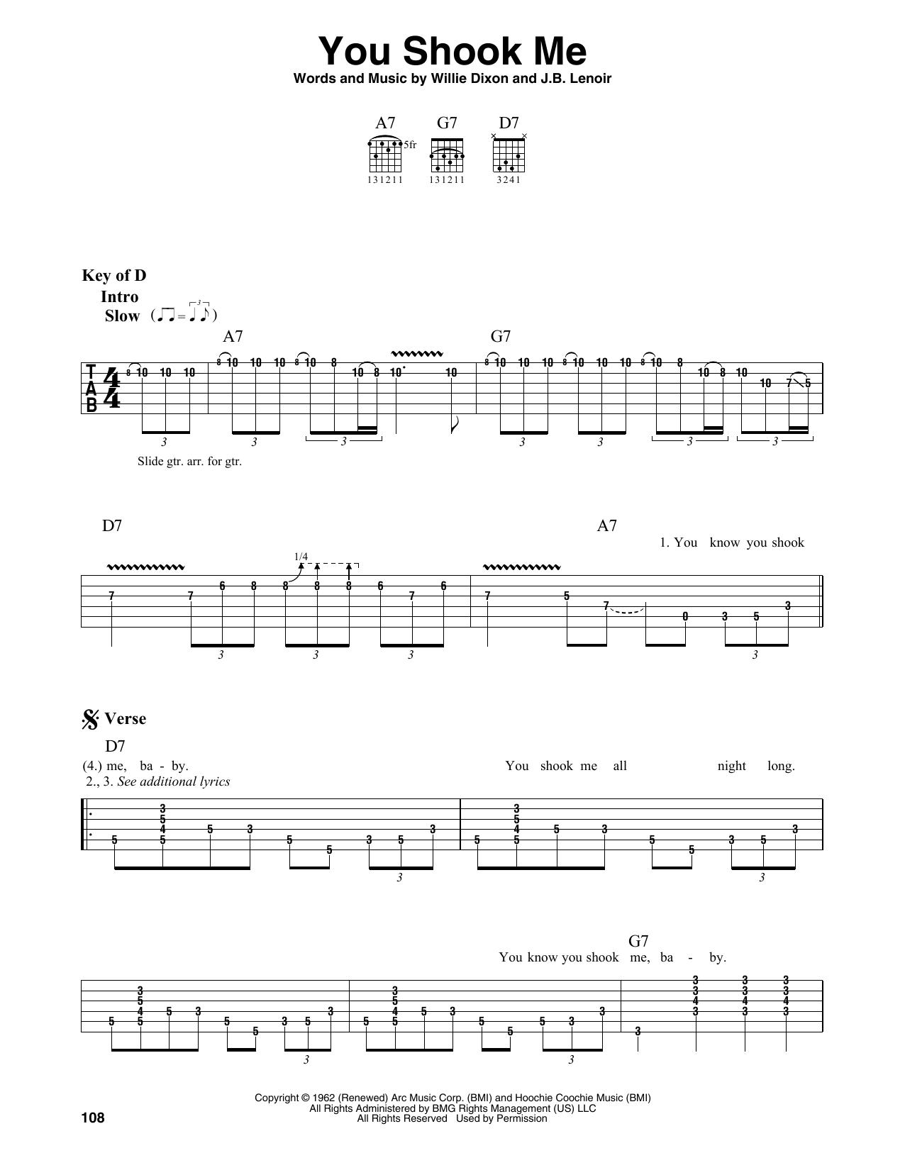 You Shook Me (Guitar Lead Sheet)