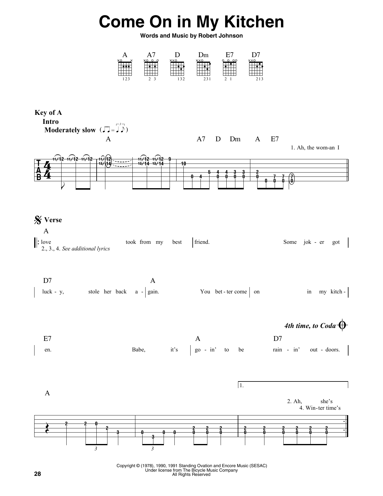 Come On In My Kitchen (Guitar Lead Sheet)
