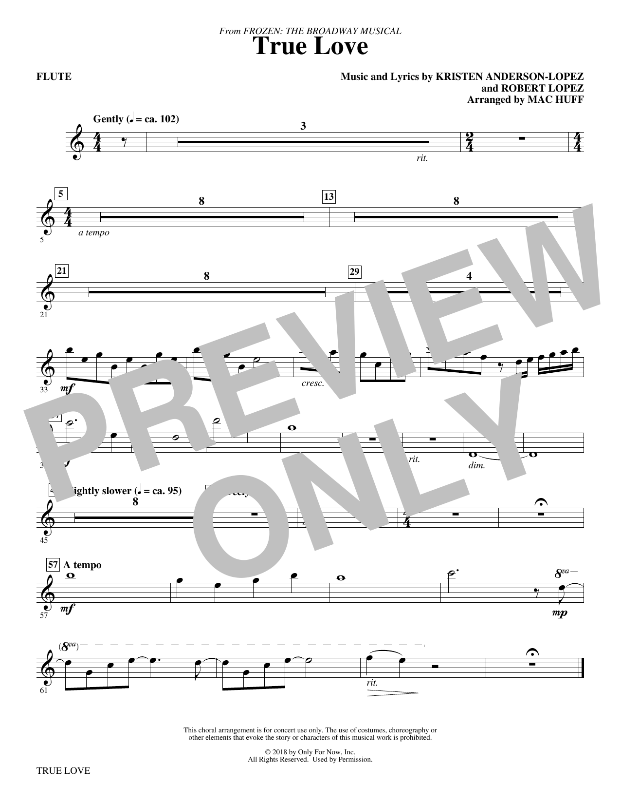 page one of True Love (from Frozen: the Broadway Musical) (Arr. Mac Huff) - FluteASALTTEXT