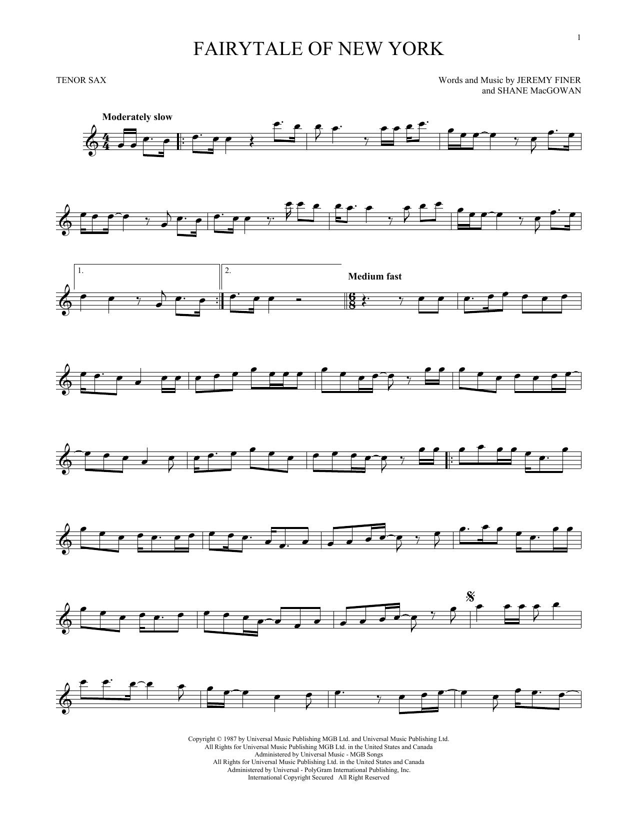 Fairytale Of New York (Tenor Sax Solo)