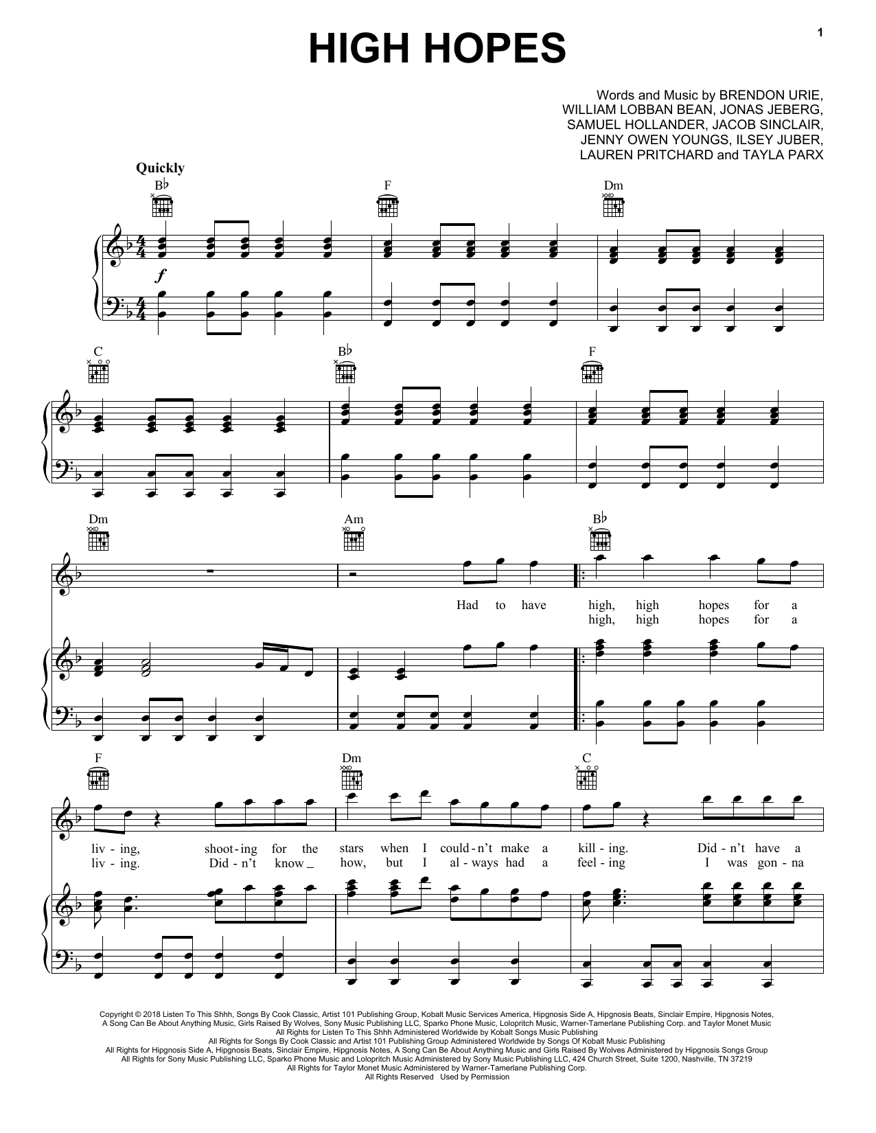 High Hopes (Piano, Vocal & Guitar (Right-Hand Melody))