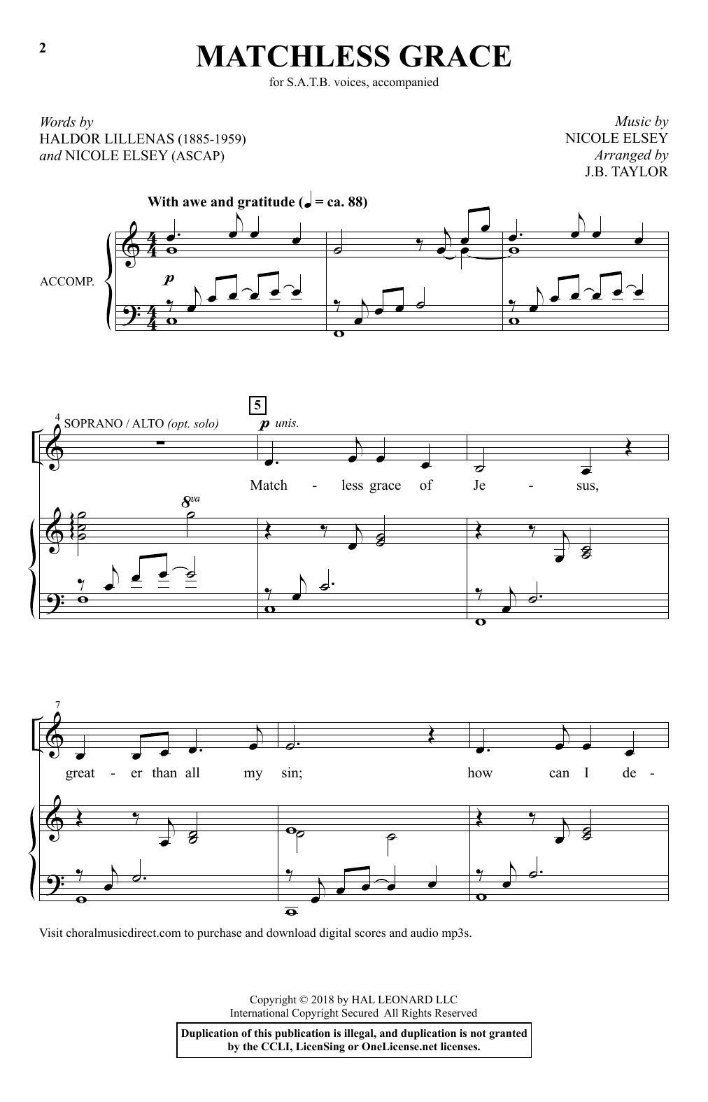 Matchless Grace (arr. J.B. Taylor) (SATB Choir)
