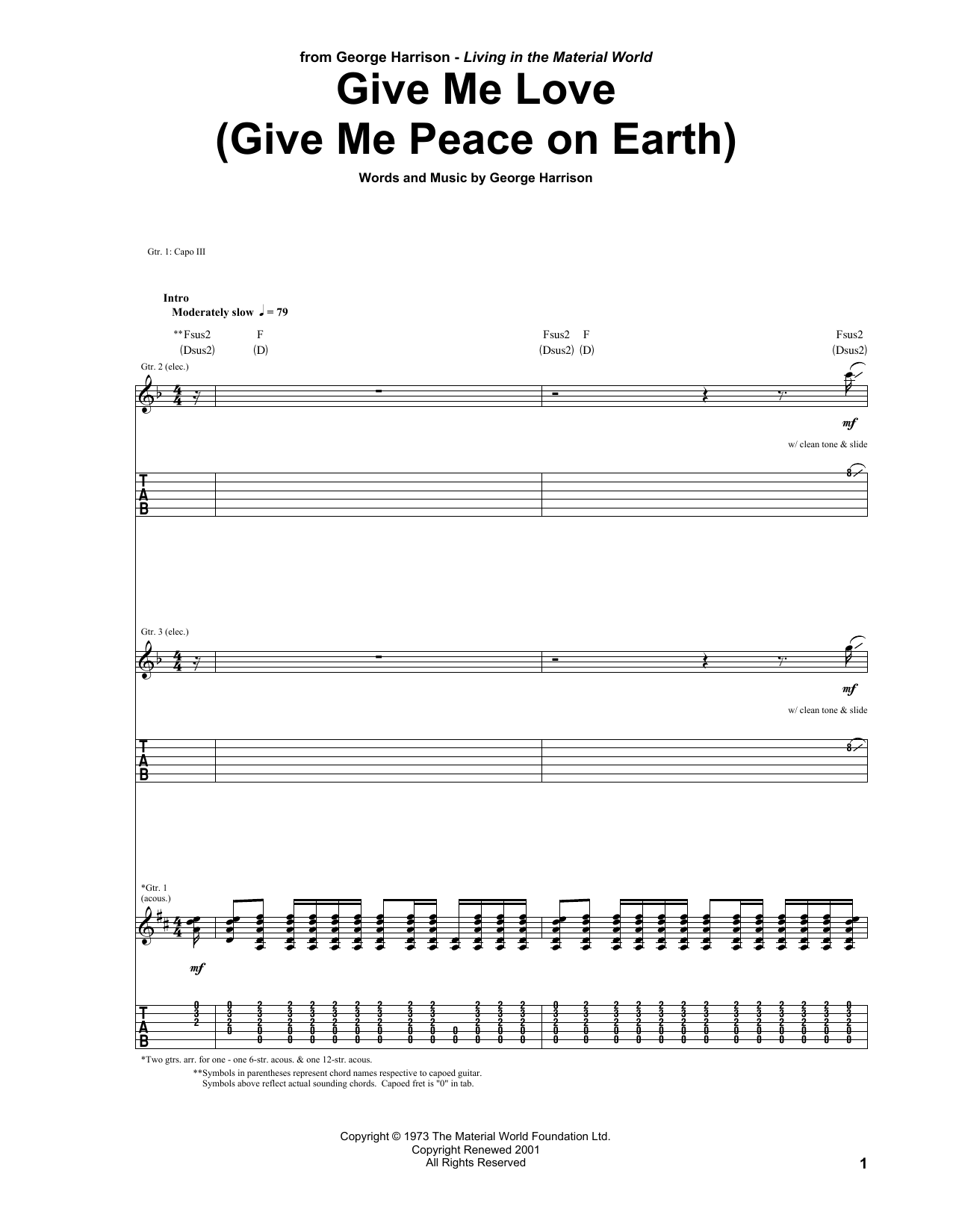 Give Me Love (Give Me Peace On Earth) (Guitar Tab)
