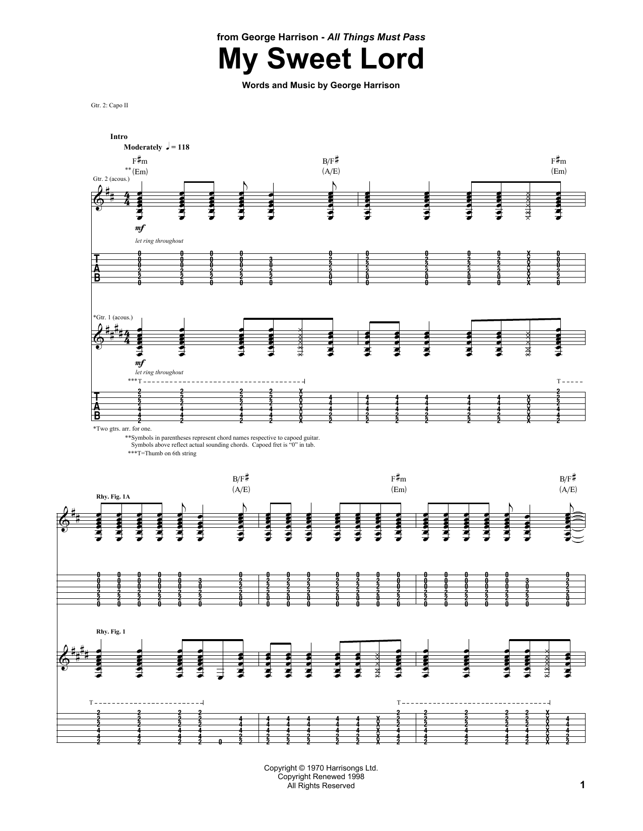 My Sweet Lord (Guitar Tab)