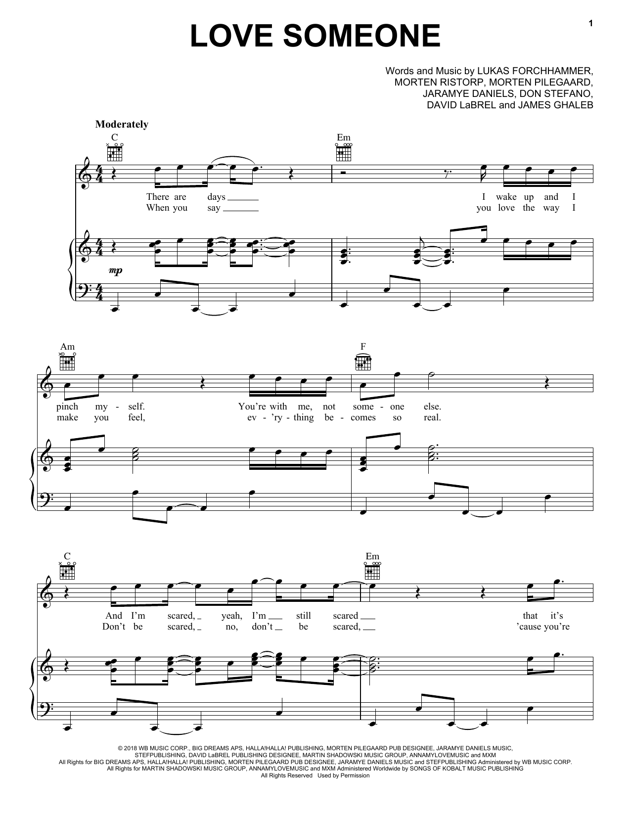 Love Someone (Piano, Vocal & Guitar (Right-Hand Melody))
