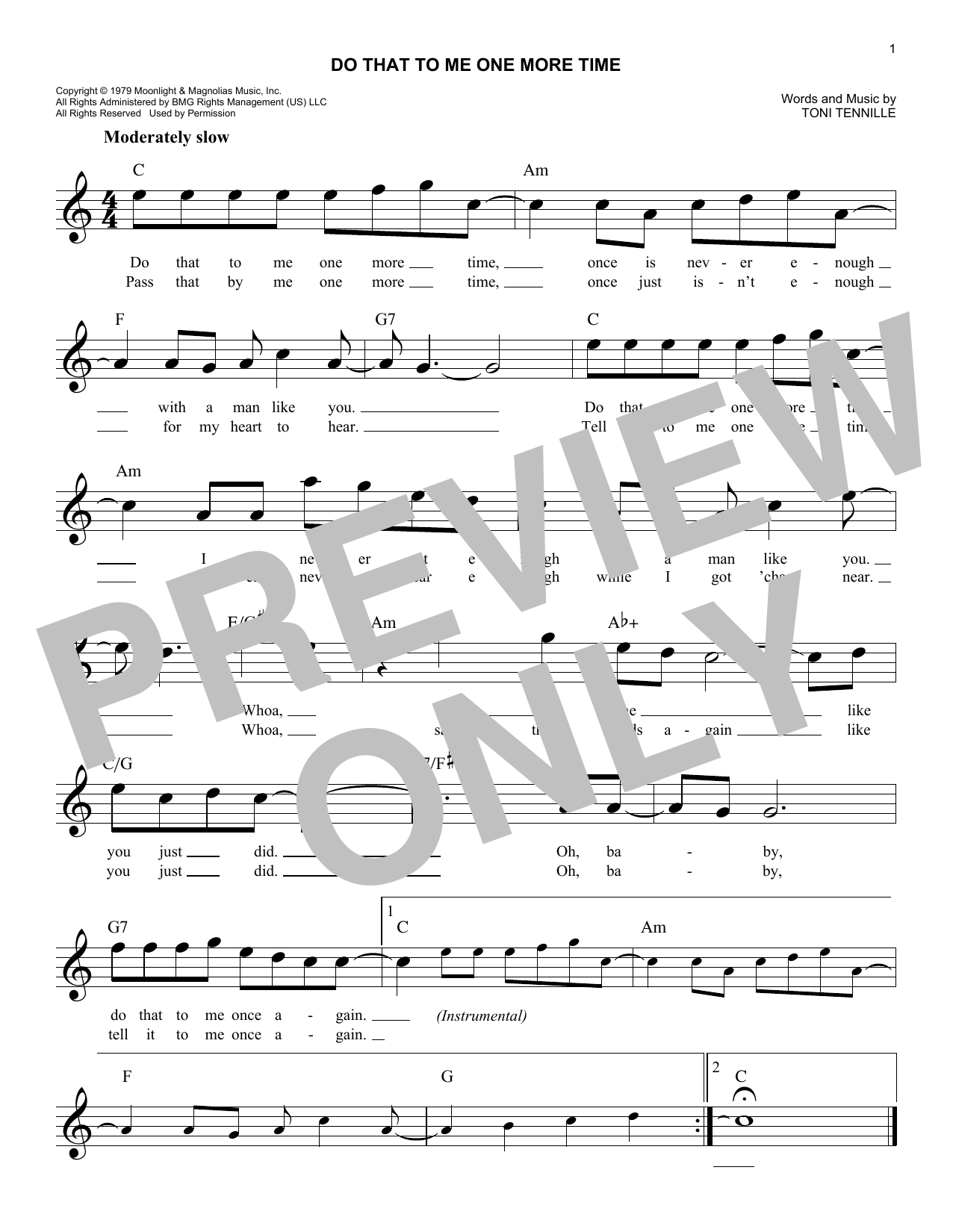 Do That To Me One More Time (Lead Sheet / Fake Book)