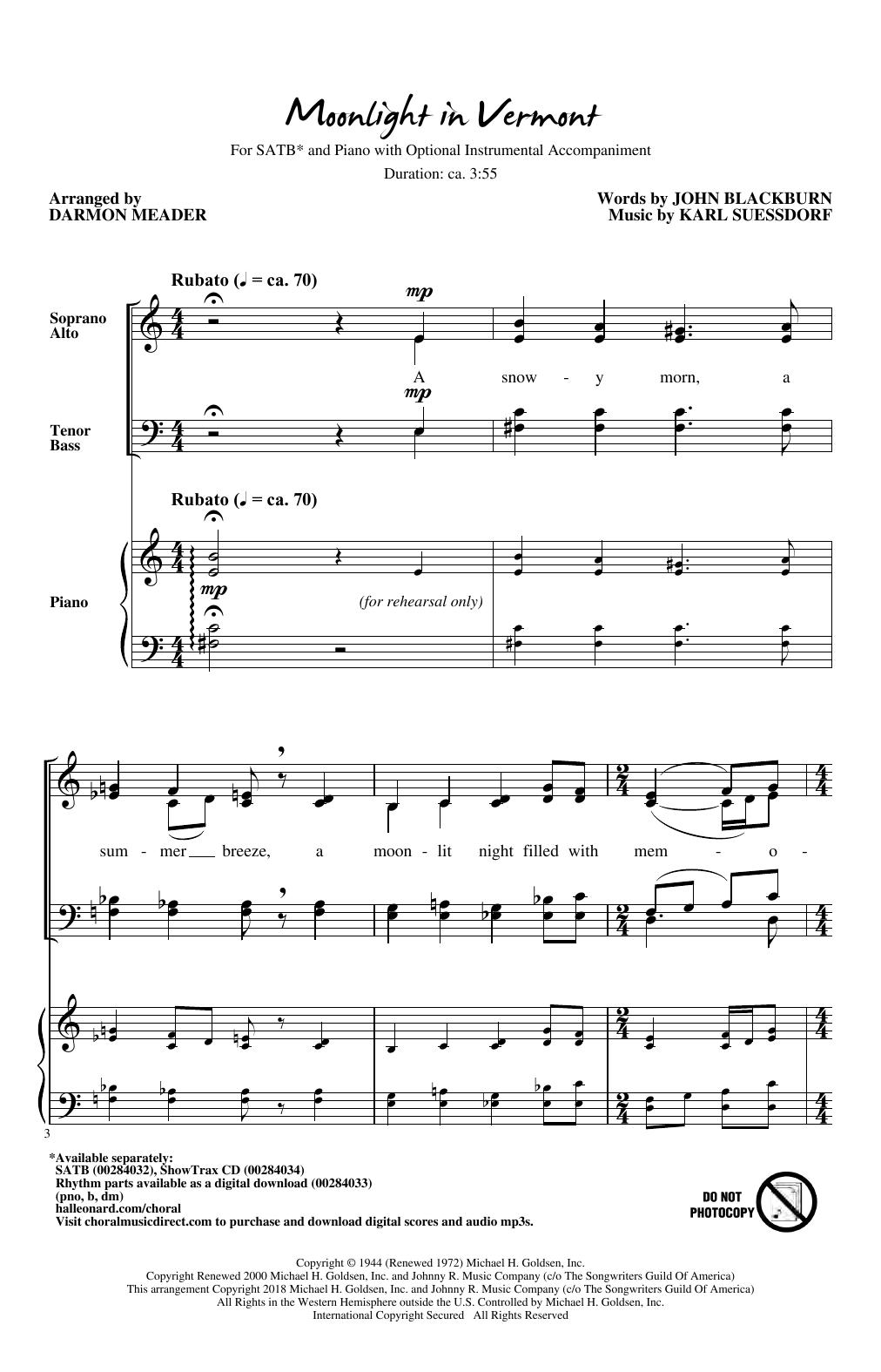 Moonlight in Vermont (arr. Darmon Meader) (SATB Choir)