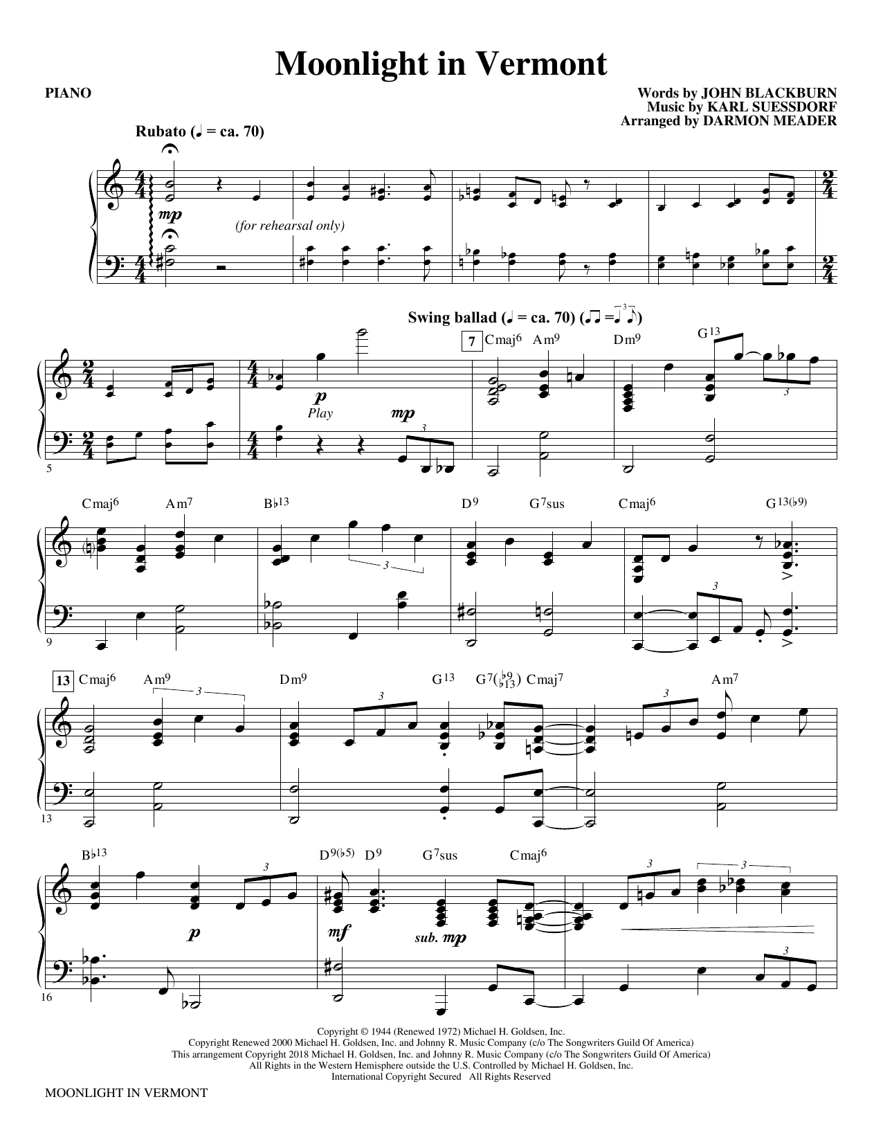 Moonlight in Vermont (arr. Darmon Meader) - Piano Sheet Music