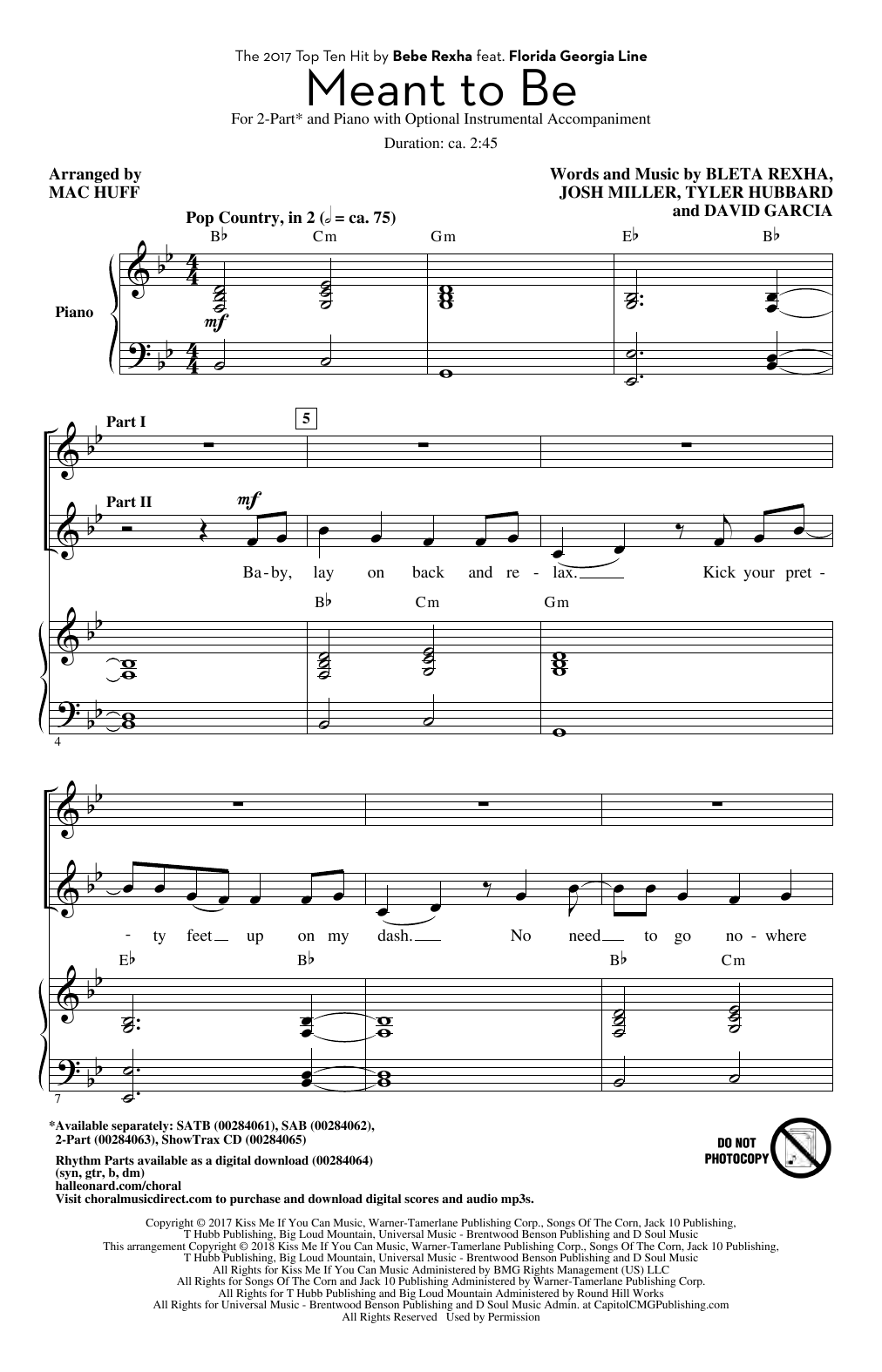 Meant To Be (feat. Florida Georgia Line) (arr. Mac Huff) Sheet Music