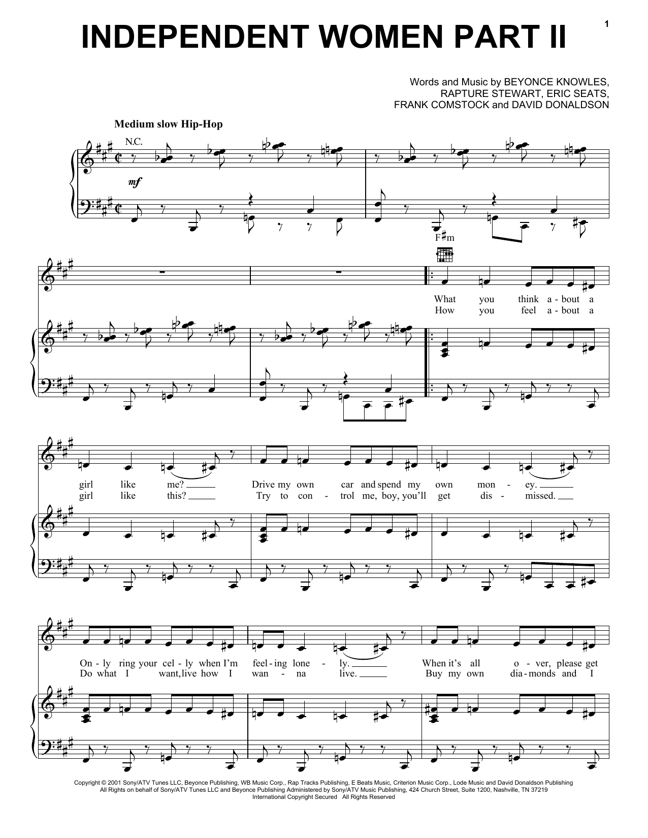 Independent Women Part II (Piano, Vocal & Guitar (Right-Hand Melody))