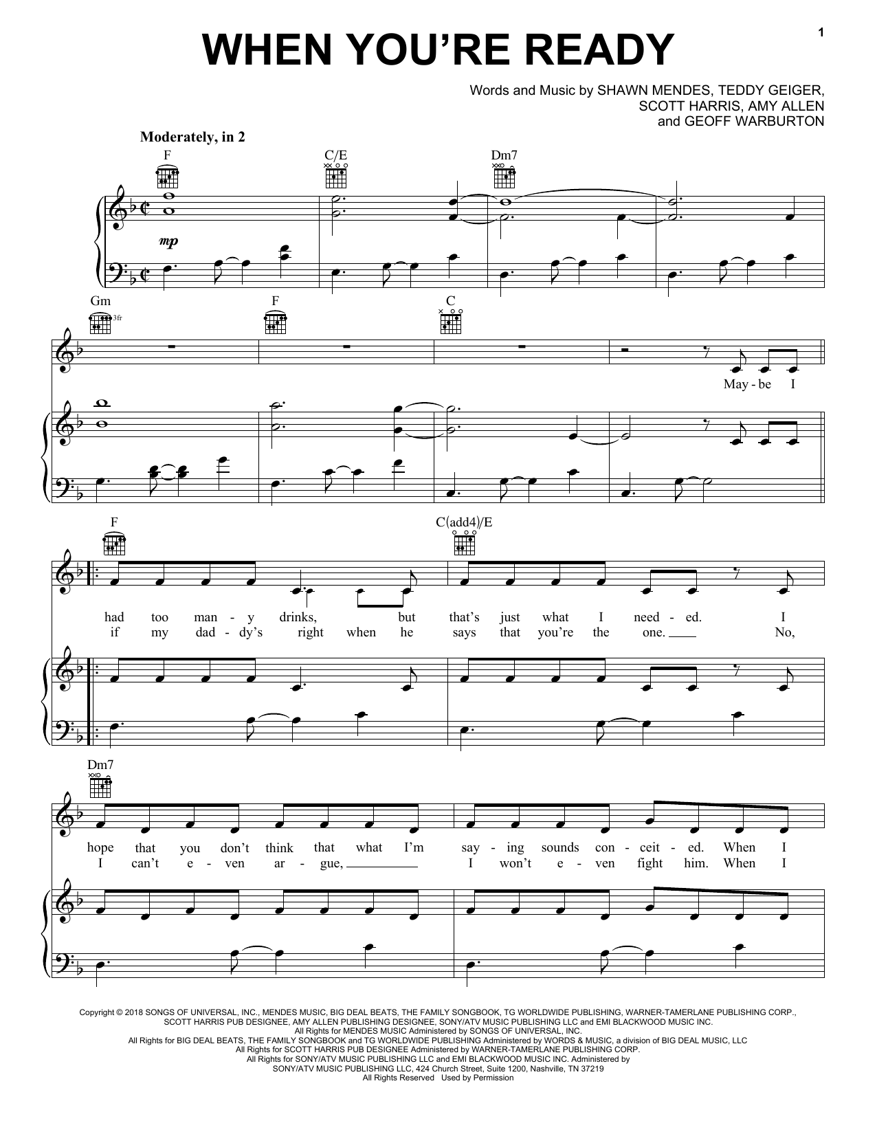 When You're Ready (Piano, Vocal & Guitar (Right-Hand Melody))