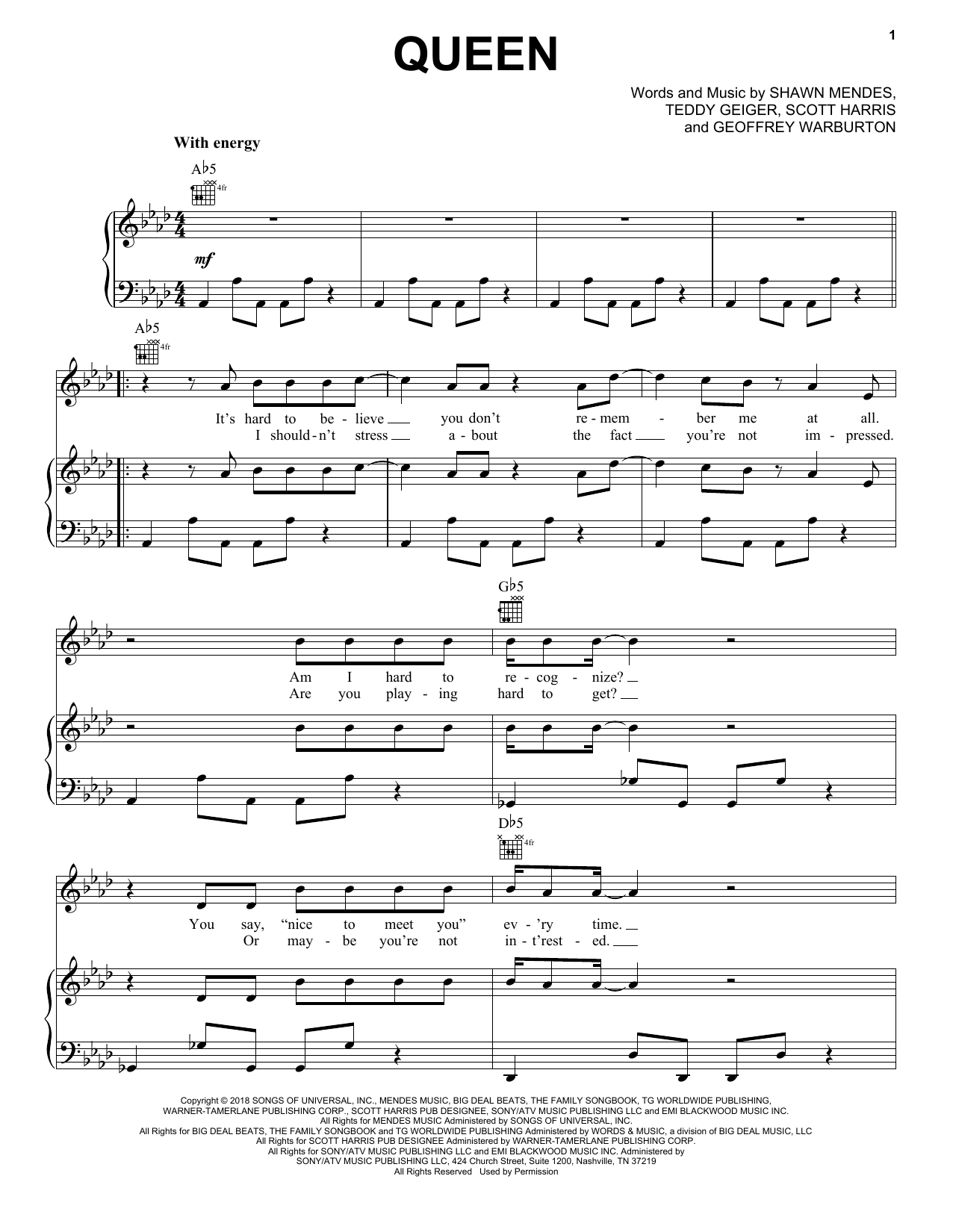 Queen (Piano, Vocal & Guitar (Right-Hand Melody))