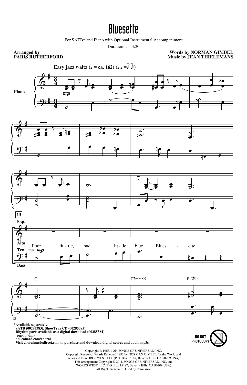 Bluesette (arr. Paris Rutherford) (SATB Choir)