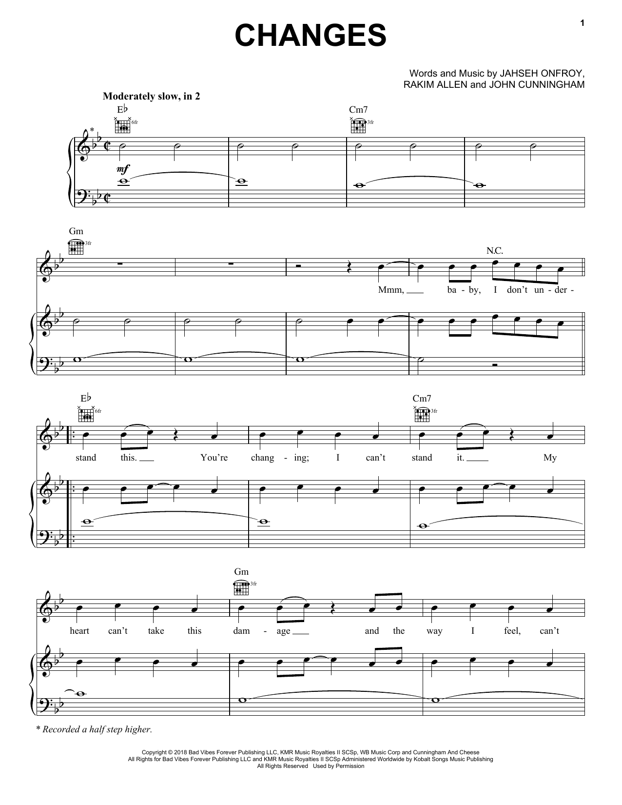 Changes (Piano, Vocal & Guitar (Right-Hand Melody))