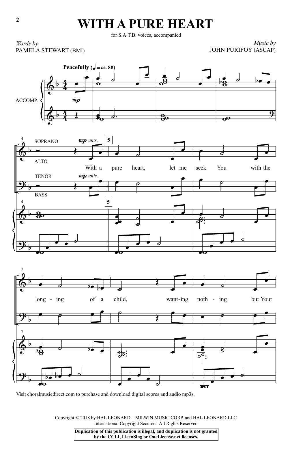With A Pure Heart (SATB Choir)