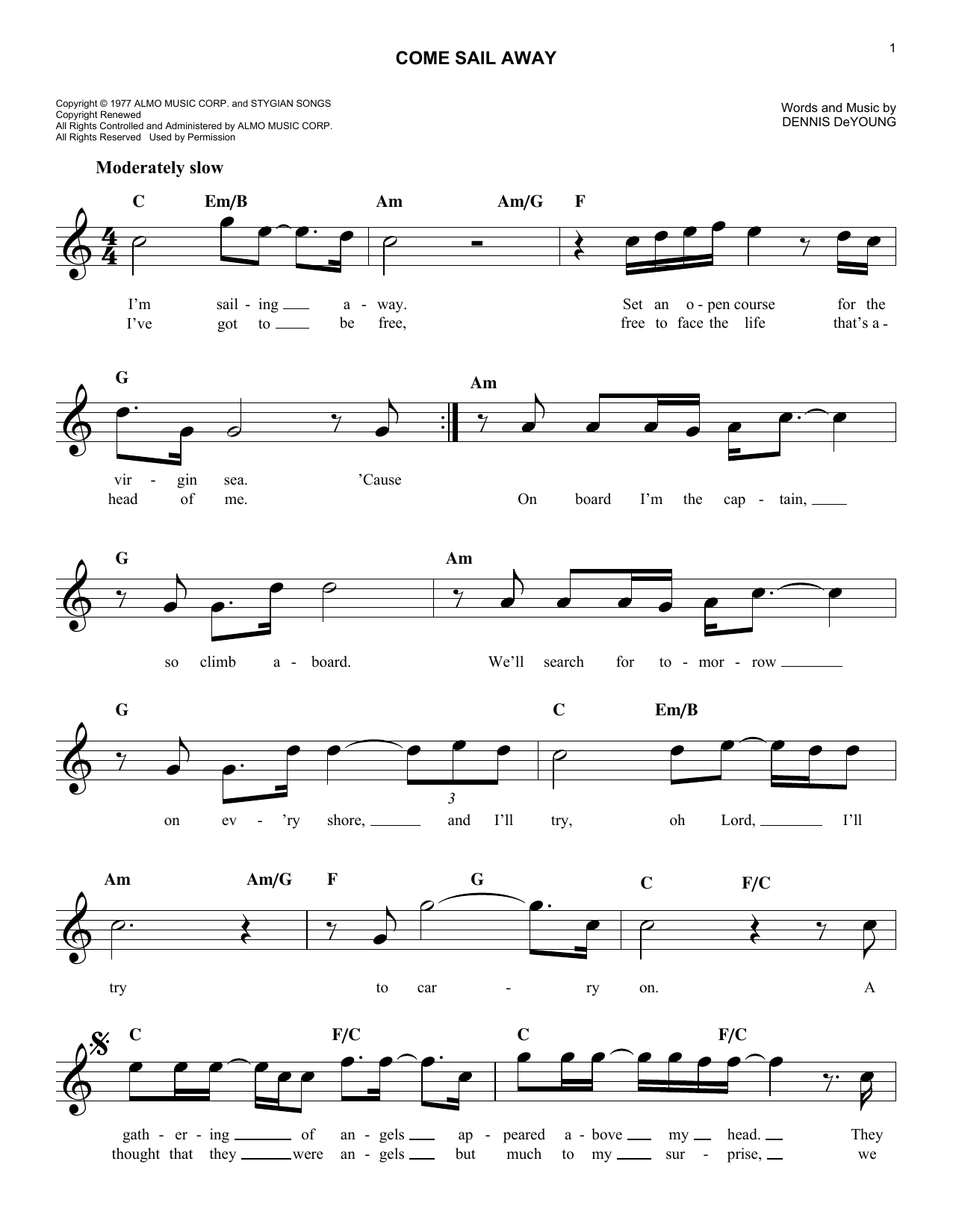 Come Sail Away Chords By Styx Melody Line Lyrics Chords 186022
