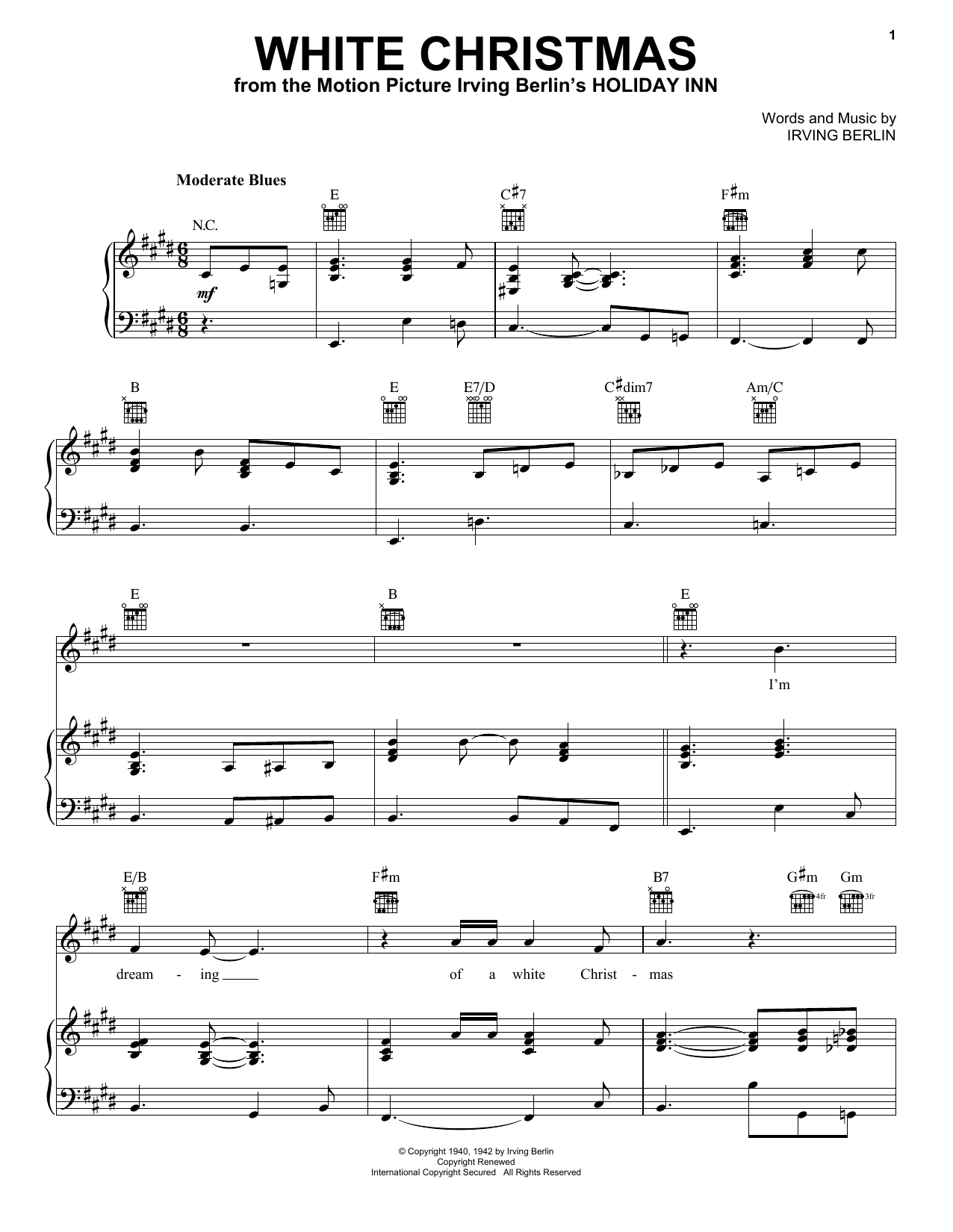White Christmas (Piano, Vocal & Guitar (Right-Hand Melody))
