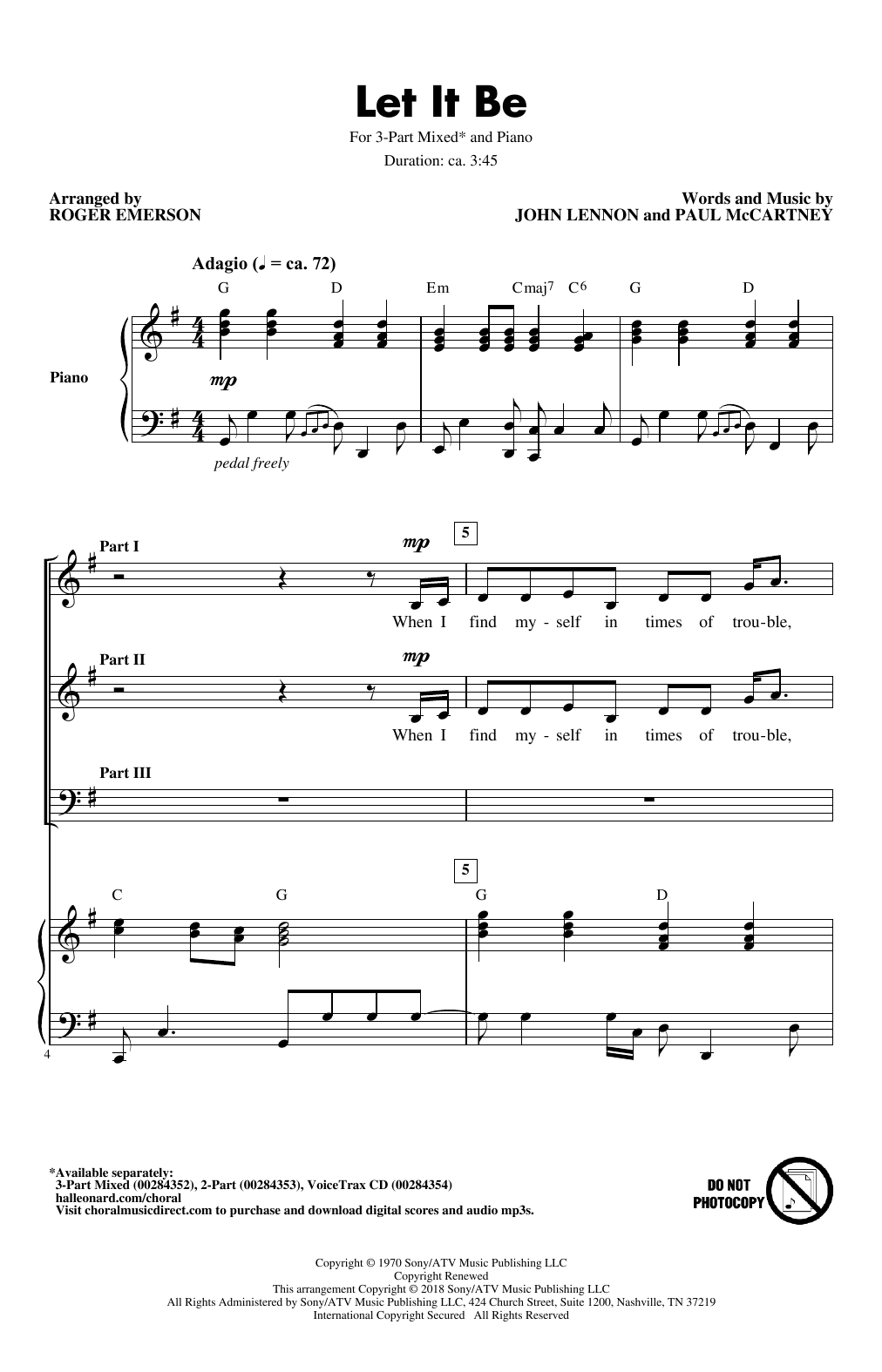 Let It Be (arr. Roger Emerson) (3-Part Mixed Choir)