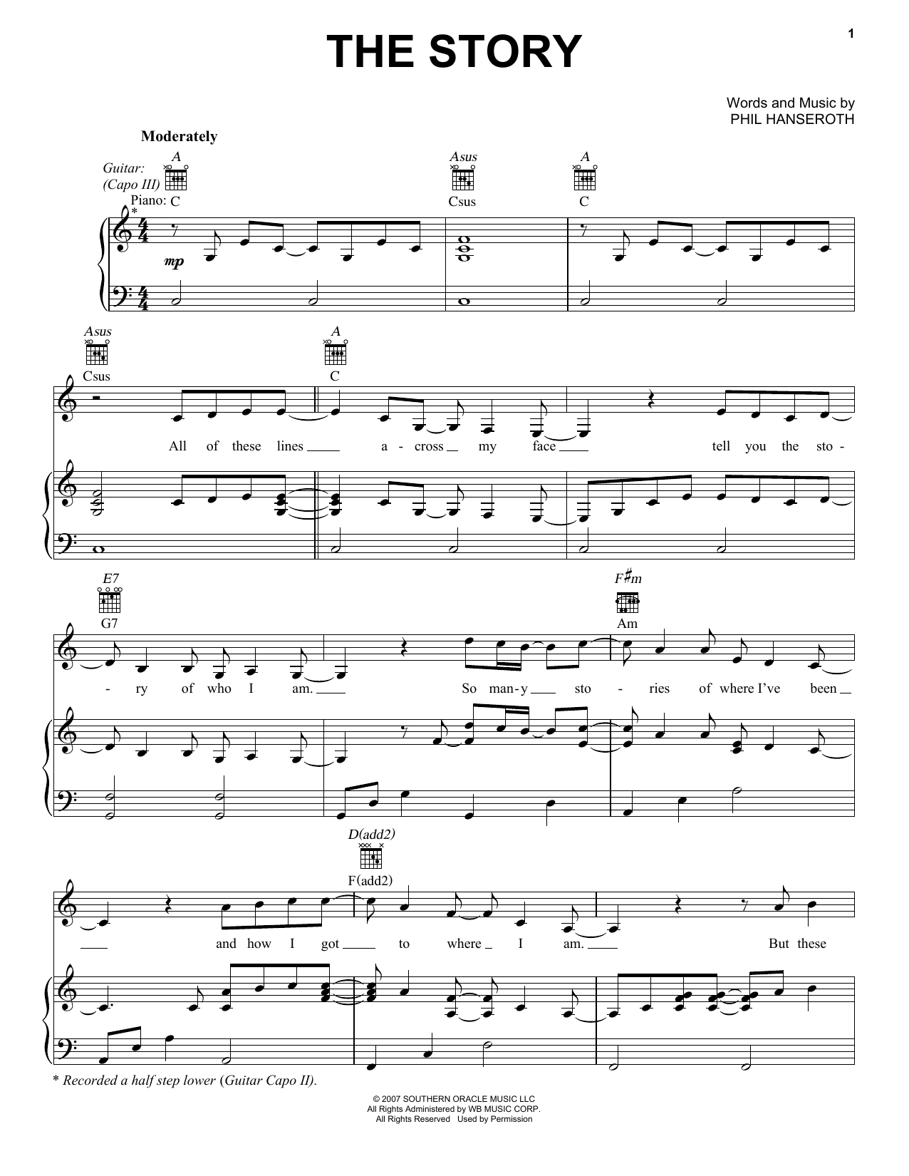 The Story (Piano, Vocal & Guitar (Right-Hand Melody))