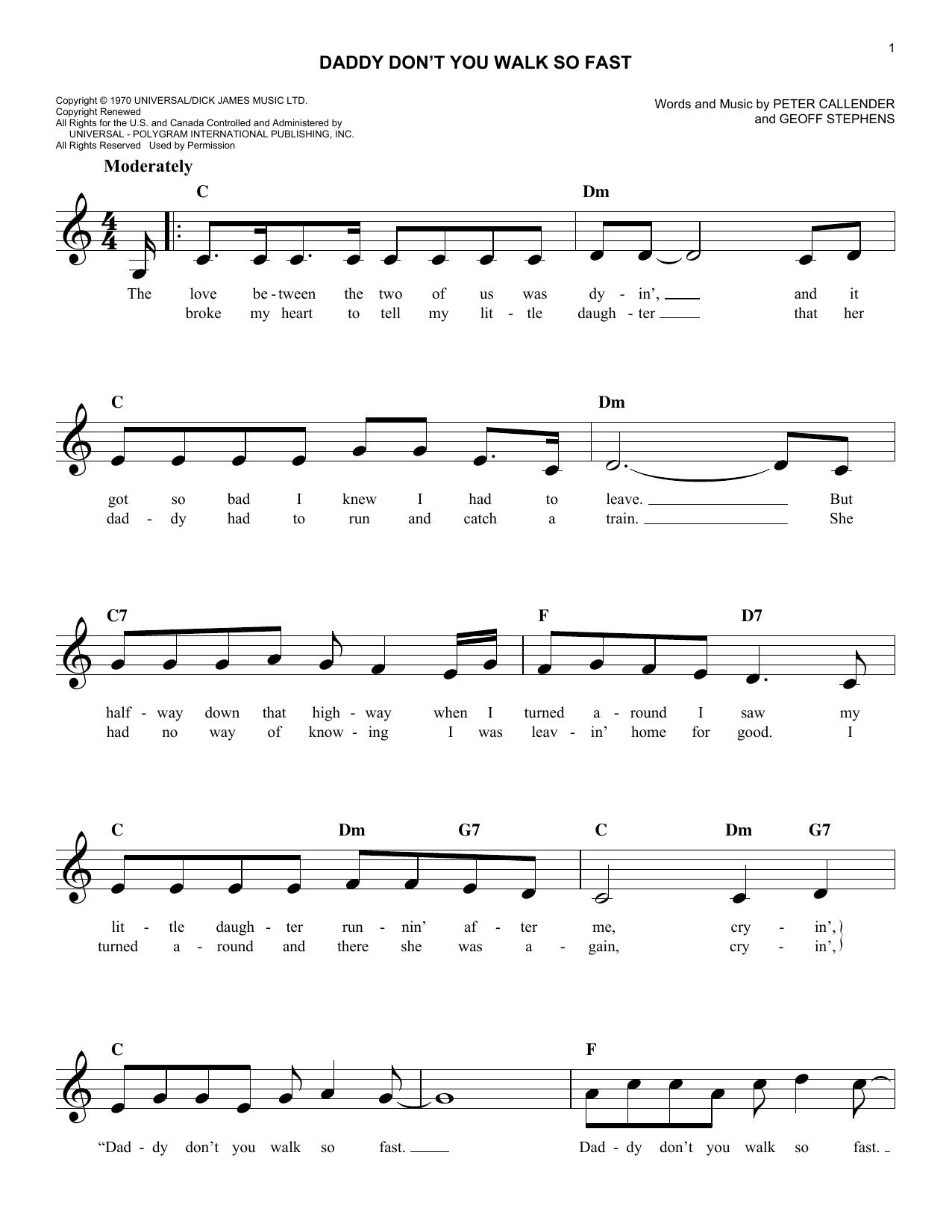 Daddy Don't You Walk So Fast (Melody Line, Lyrics & Chords)
