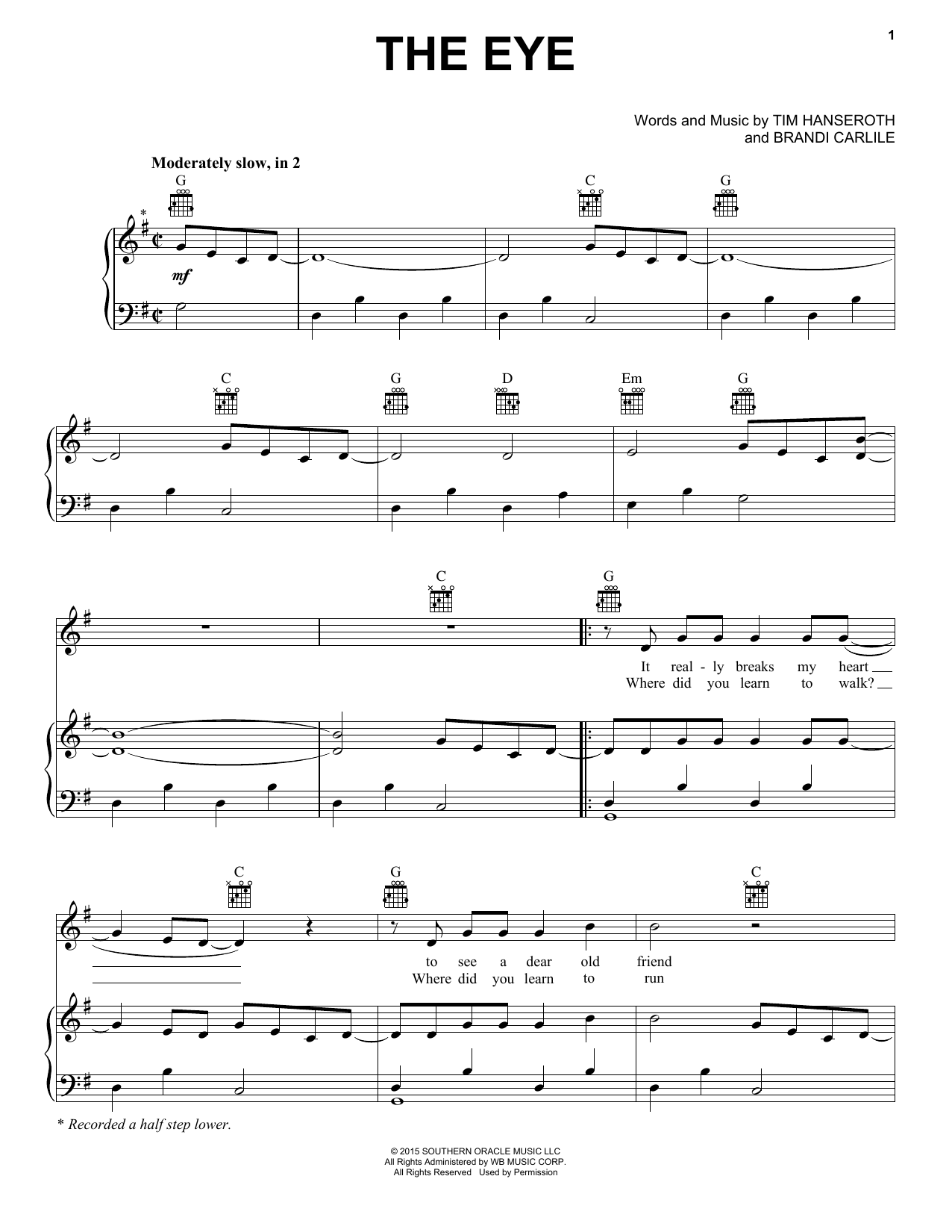 The Eye (Piano, Vocal & Guitar (Right-Hand Melody))