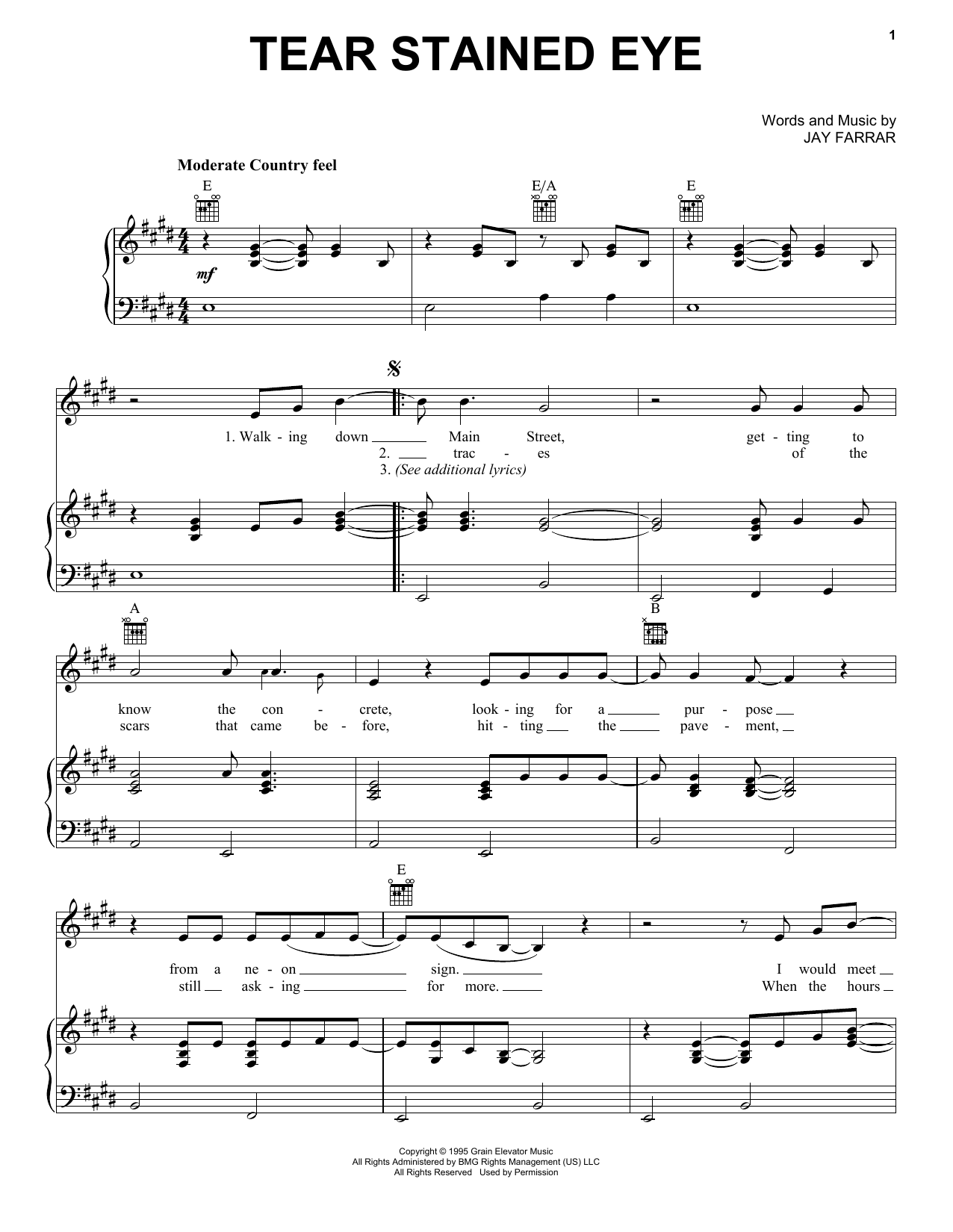 Tear Stained Eye (Piano, Vocal & Guitar (Right-Hand Melody))