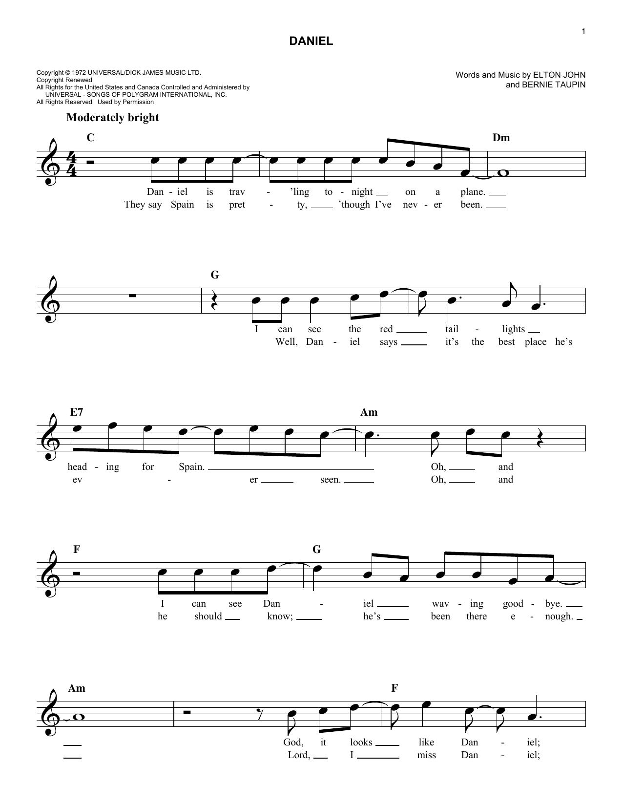 elton john daniel sheet music pdf