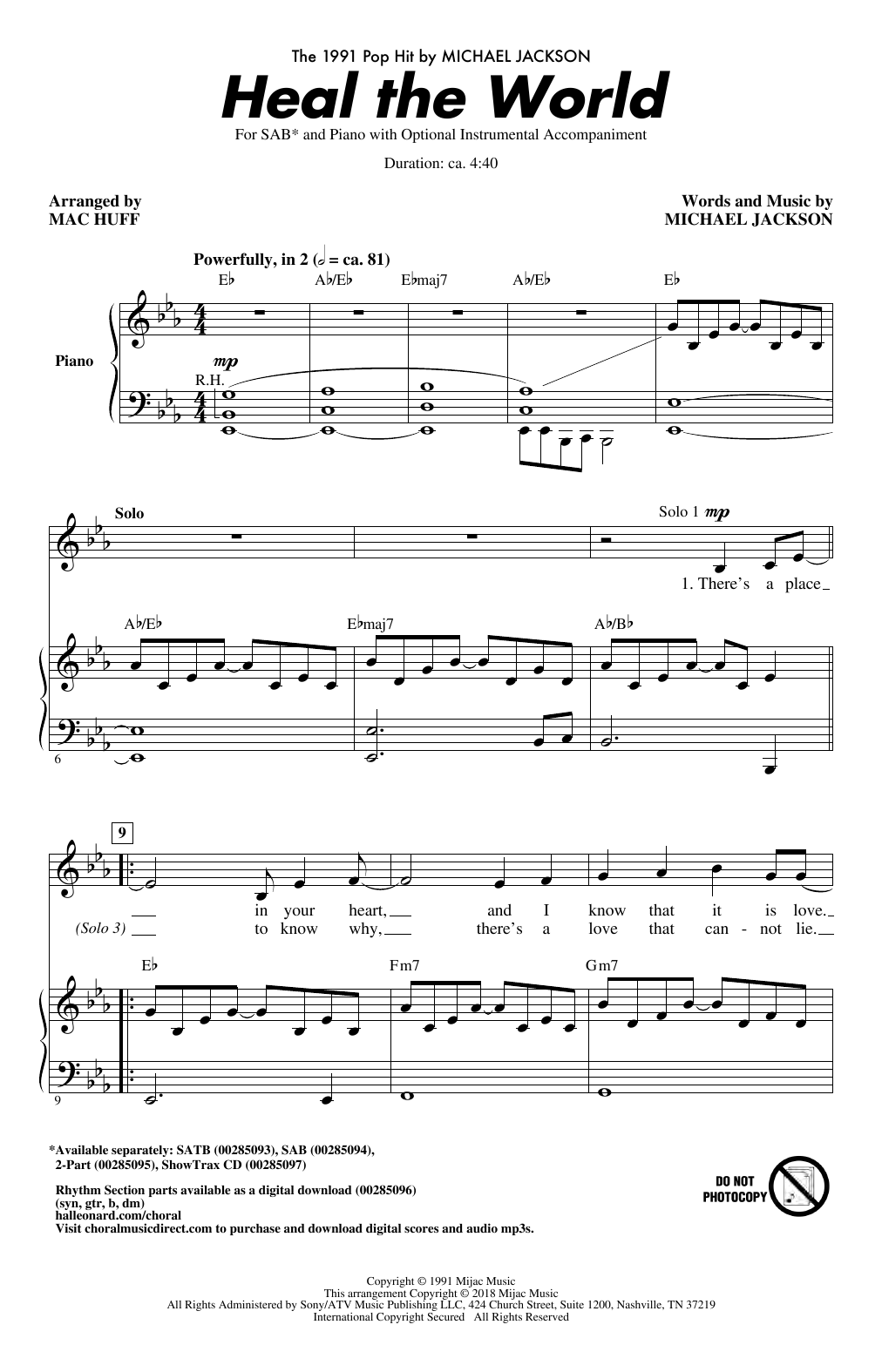 Heal The World (Arr. Mac Huff) Partition Digitale