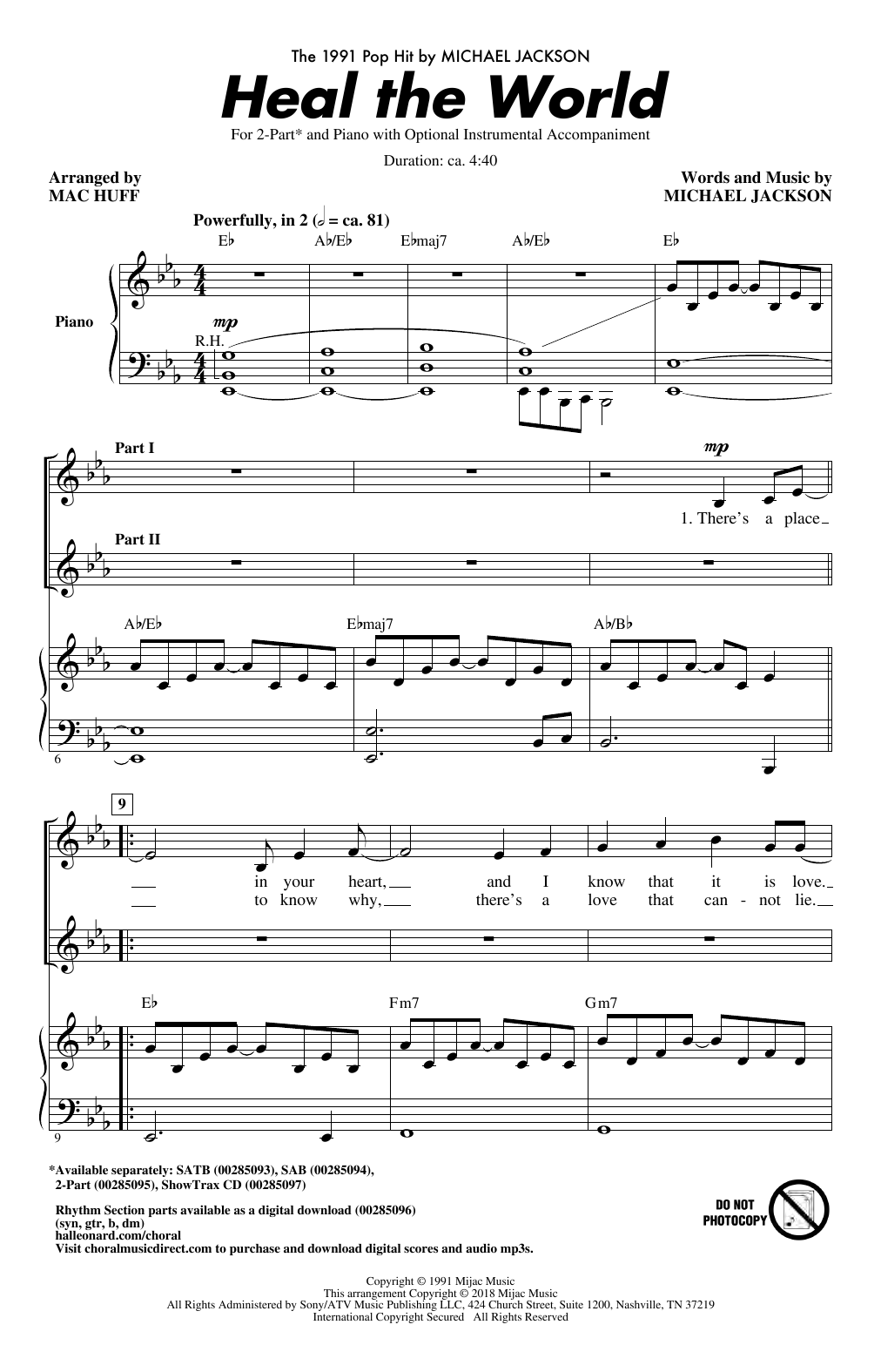 Heal The World (Arr. Mac Huff) Sheet Music